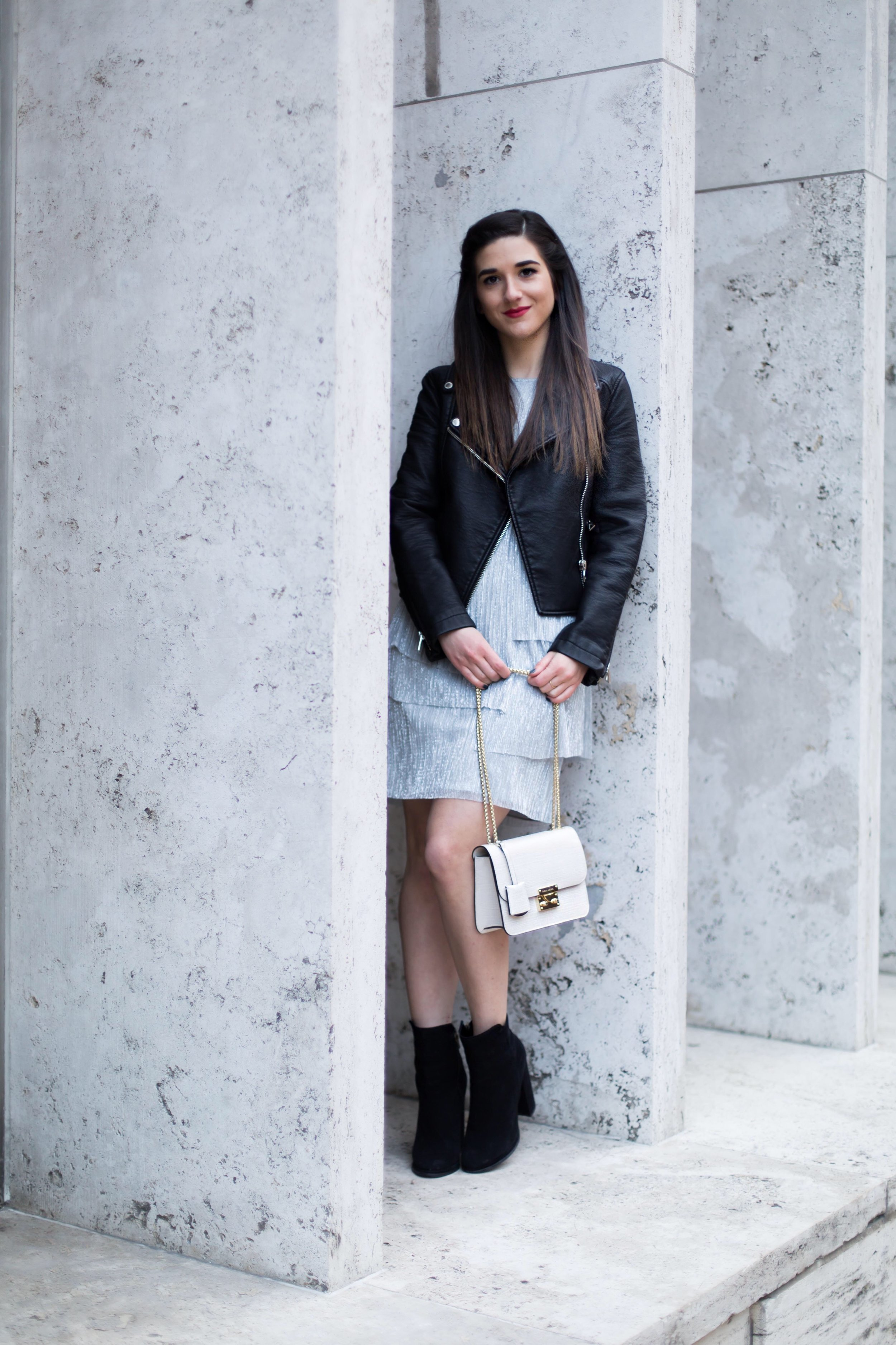 Layered Dress Moto Jacket What Is Your Content Worth Esther Santer Fashion Blog NYC Street Style Blogger Outfit OOTD Trendy Henri Bendel Bag Purse White Gold Jay Godfrey Fancy Casual Look Black Booties Shoes Winter Fall Idea Inspo Shop Wear Girl Woman.JPG