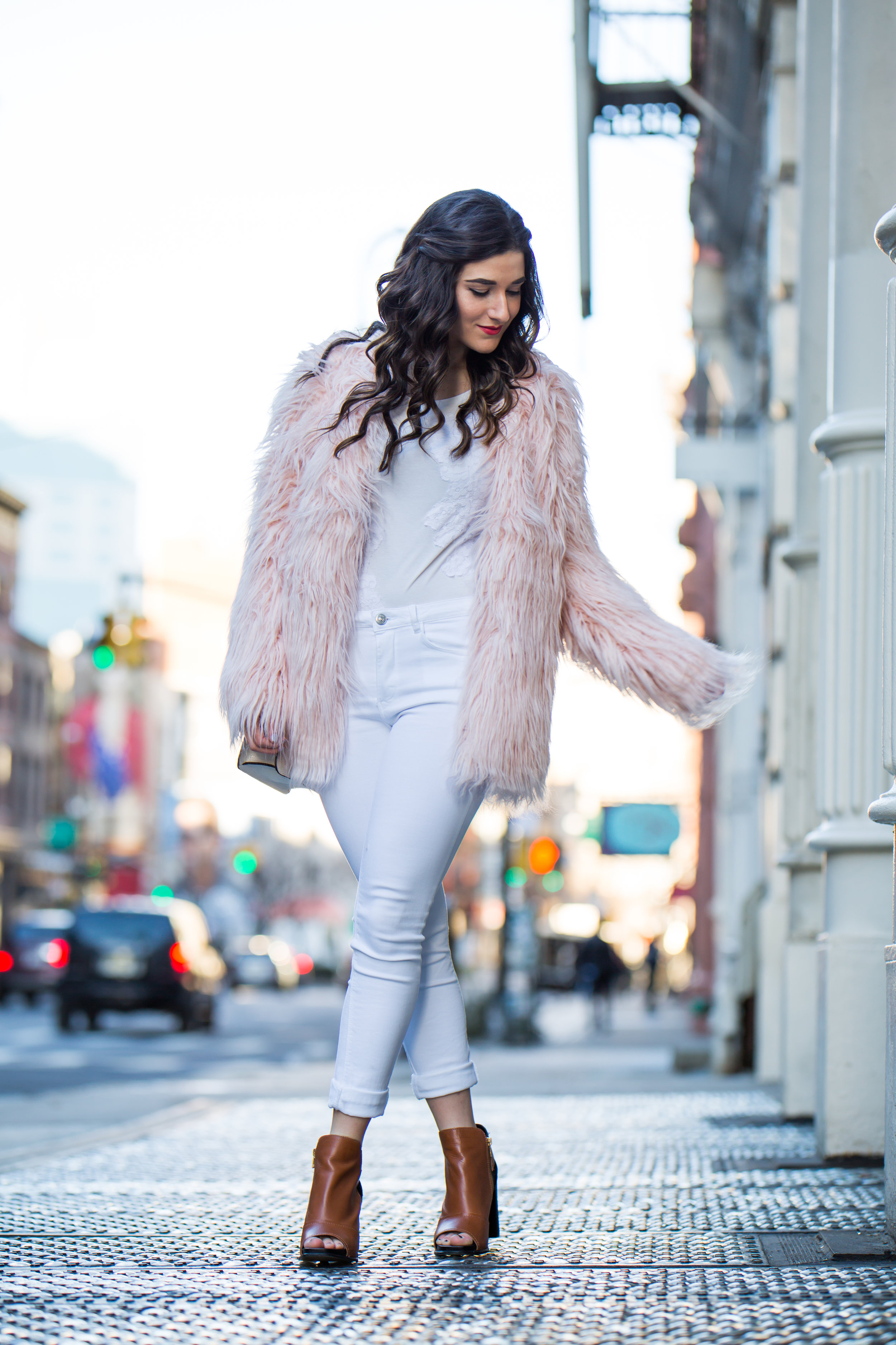 Pink Faux Fur Jacket White Jeans The Best Career Advice Esther Santer Fashion Blog NYC Street Style Blogger Outfit OOTD Trendy Winter Whites Henri Bendel Bag Tan Booties Girl Women Shop Sale Hair Shoes What To Wear Wearing Model Photoshoot Accessories.jpg