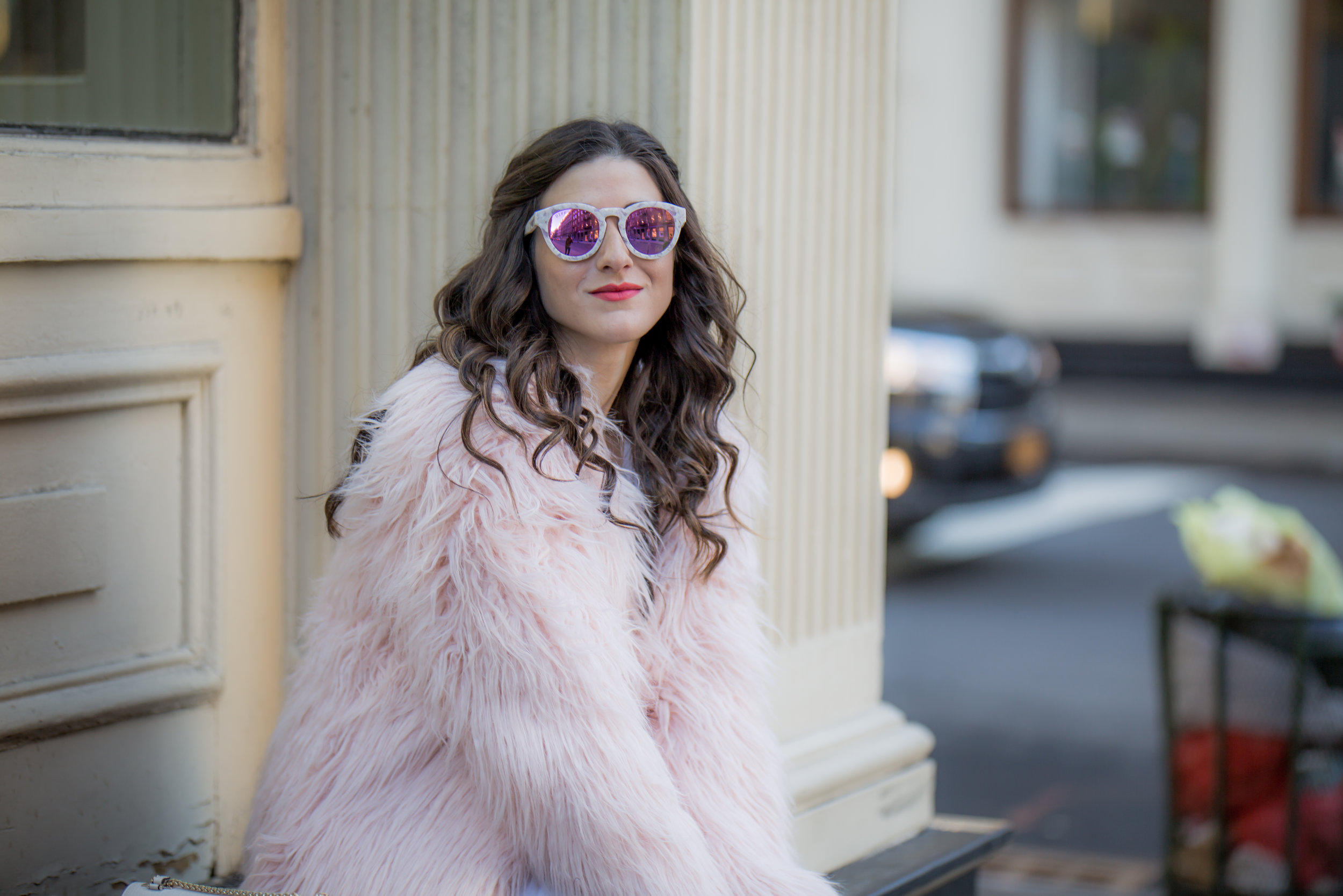 Pink Faux Fur Jacket White Jeans The Best Career Advice Esther Santer Fashion Blog NYC Street Style Blogger Outfit OOTD Trendy Winter Whites Henri Bendel Bag Tan Booties Girl Women Shop Sale Hair What To Wear Wearing Model Photoshoot Accessories Shoes.jpg