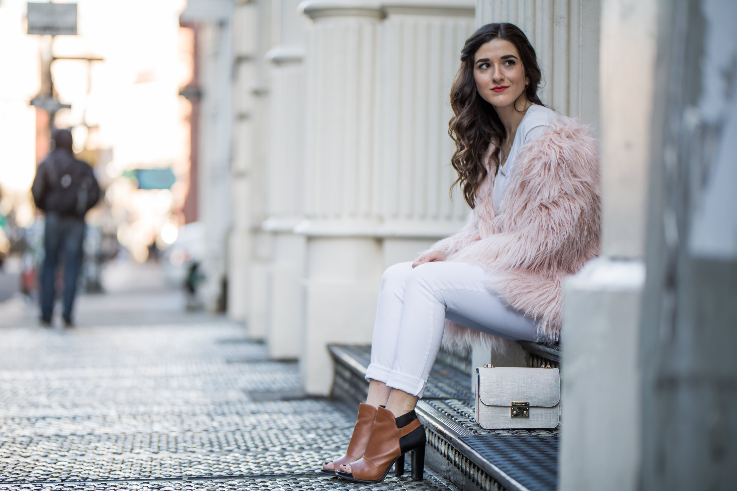 Pink Faux Fur Jacket White Jeans The Best Career Advice Esther Santer Fashion Blog NYC Street Style Blogger Outfit OOTD Trendy Winter Whites Henri Bendel Bag Tan Booties Girl Women Shop Sale Hair Model Shoes What To Wear Wearing Accessories Photoshoot.jpg