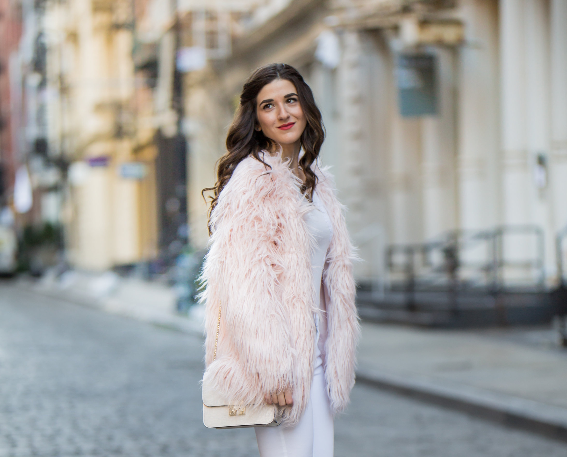 Pink Faux Fur Jacket White Jeans The Best Career Advice Esther Santer Fashion Blog NYC Street Style Blogger Outfit OOTD Trendy Winter Whites Henri Bendel Bag Tan Booties Accessories Girl Women Shop Sale Hair Model Shoes What To Wear Wearing Photoshoot.jpg