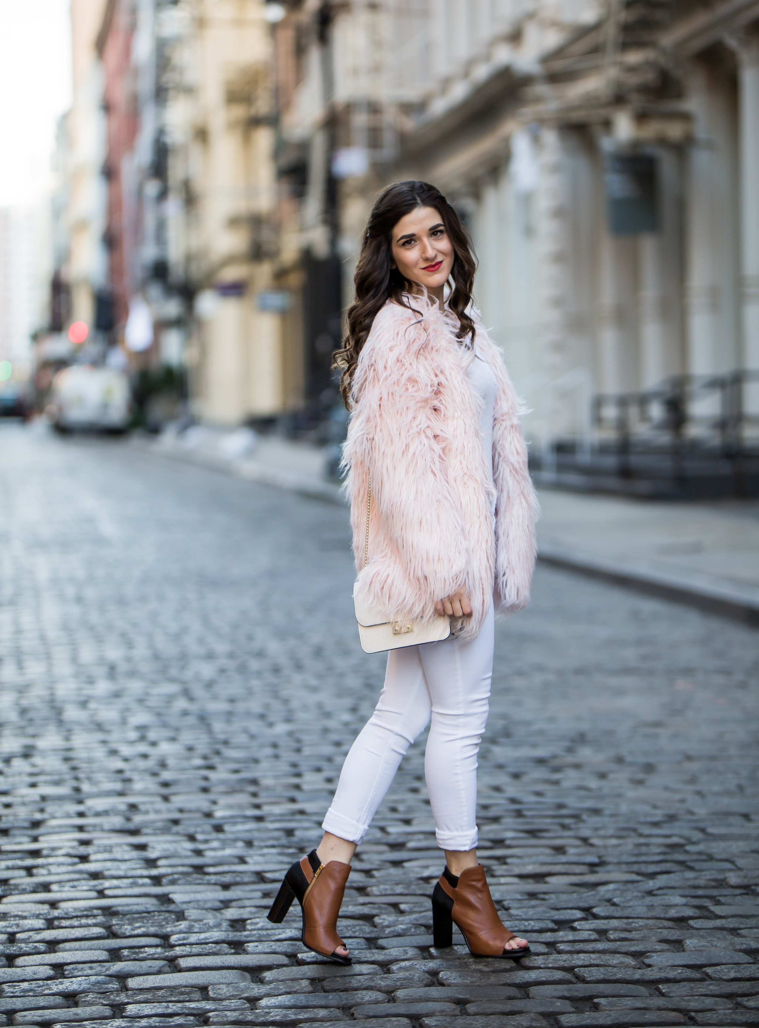 Pink Faux Fur Jacket White Jeans The Best Career Advice Esther Santer Fashion Blog NYC Street Style Blogger Outfit OOTD Trendy Winter Whites Henri Bendel Bag Tan Booties Girl Women Shop Sale Hair What To Wear Wearing Model Photoshoot Shoes Accessories.jpg