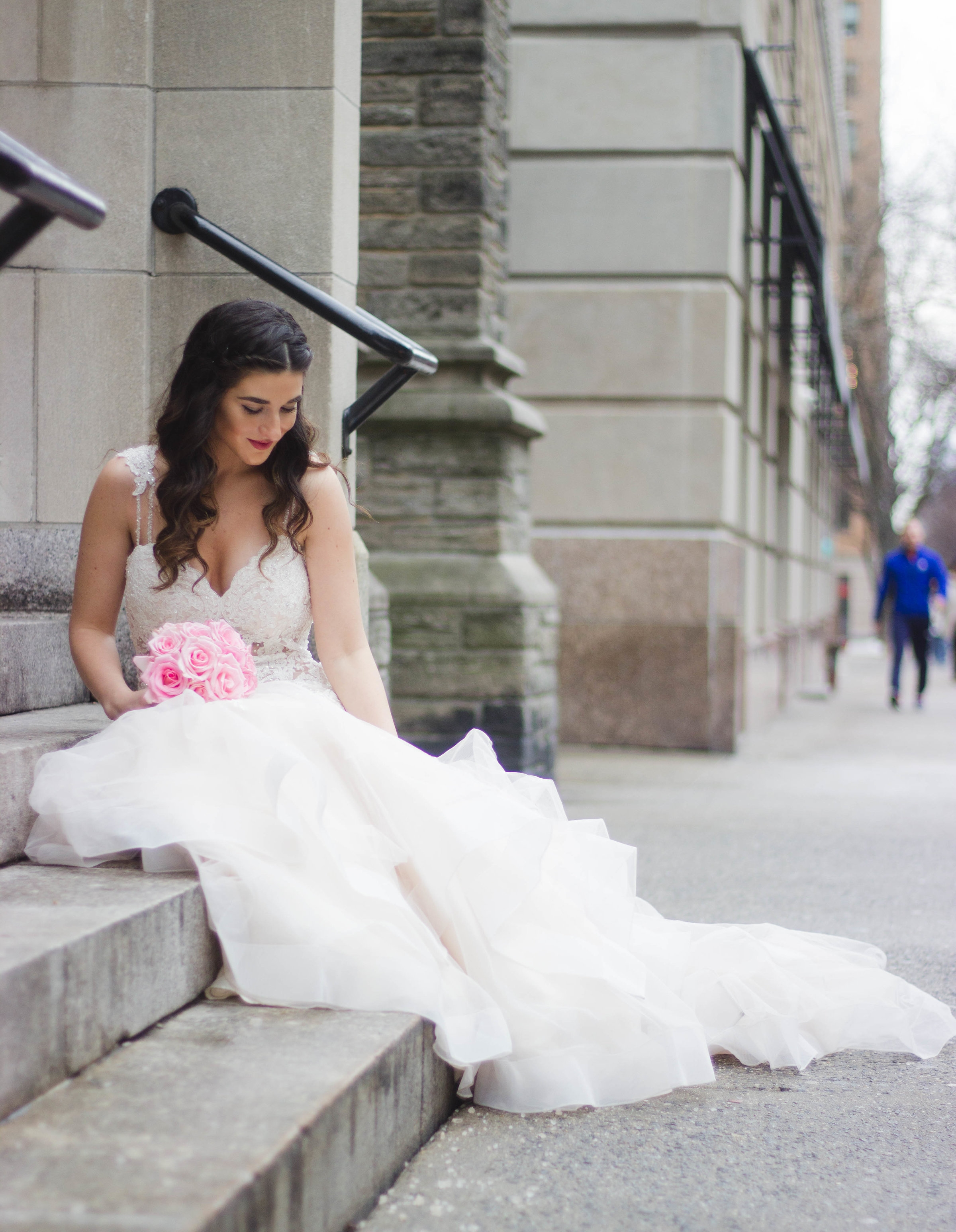 Playing Dress Up With Morilee Bridal Esther Santer Fashion Blog NYC Street Style Blogger Outfit OOTD Trendy Wedding Dress Gown White Dreamy Modern Timeless Beautiful Train Pink Flowers Bouquet Hair Hairstyle Beauty Makeup Lace Trumpet Mermaid Flare.jpg
