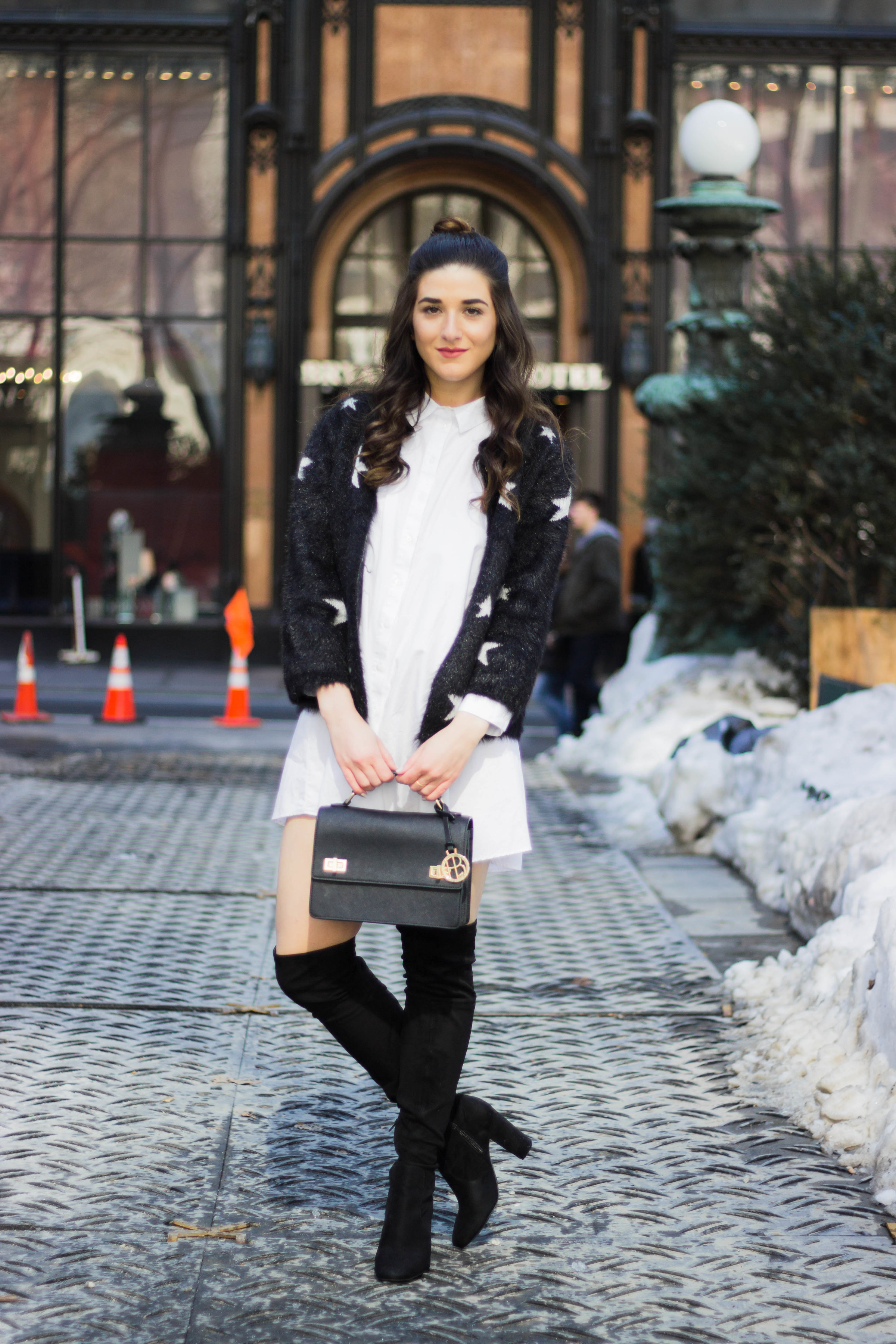 Trescool Star Jacket How NYC Changed My Style Esther Santer Fashion Blog NYC Street Style Blogger Outfit OOTD Trendy Henri Bendel Black Bag Over The Knee Boots Bun Topknot Purse Girl Women Shoes Zara White Button Down Shirt Dress Wearing Shop Shopping.jpg