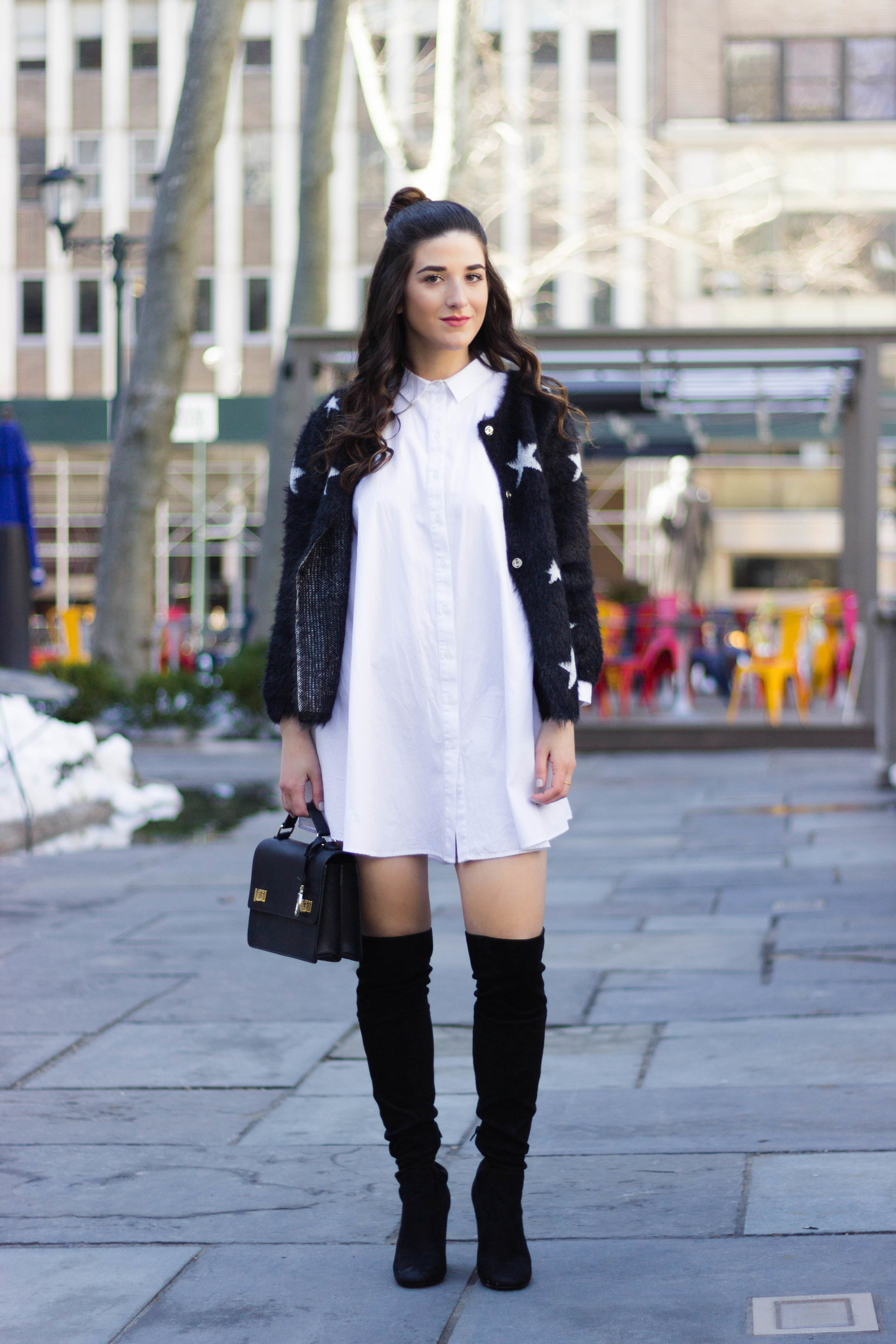Trescool Star Jacket How NYC Changed My Style Esther Santer Fashion Blog NYC Street Style Blogger Outfit OOTD Trendy Henri Bendel Black Bag Over The Knee Boots Topknot Bun Purse Women Shoes Girl Zara White Button Down Shirt Dress Wearing Shop Shopping.jpg