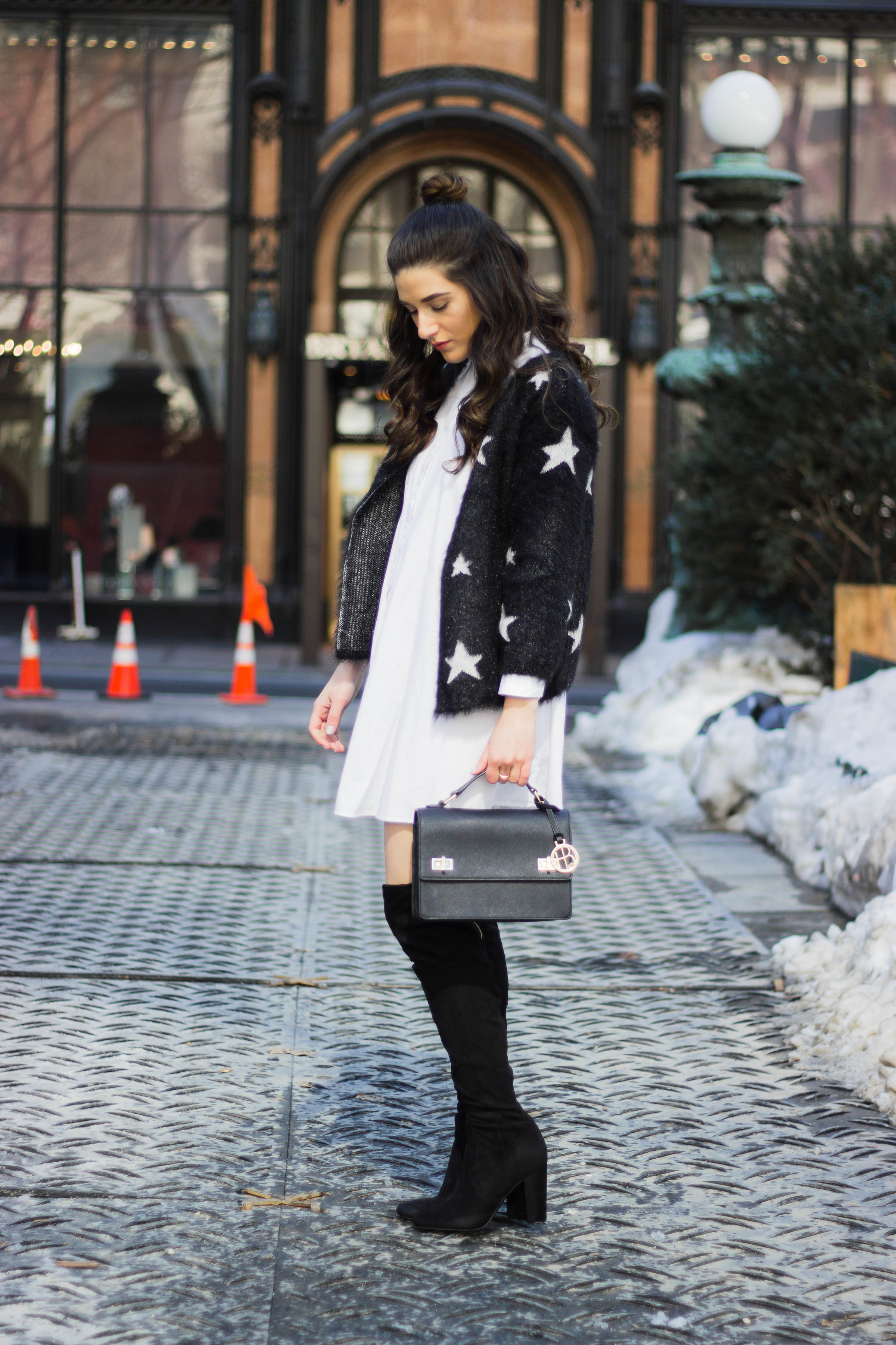 Trescool Star Jacket How NYC Changed My Style Esther Santer Fashion Blog NYC Street Style Blogger Outfit OOTD Trendy Henri Bendel Black Bag Over The Knee Boots Topknot Bun Purse Women Shoes Girl Zara White Button Down Shirt Dress Wearing Shopping Shop.jpg