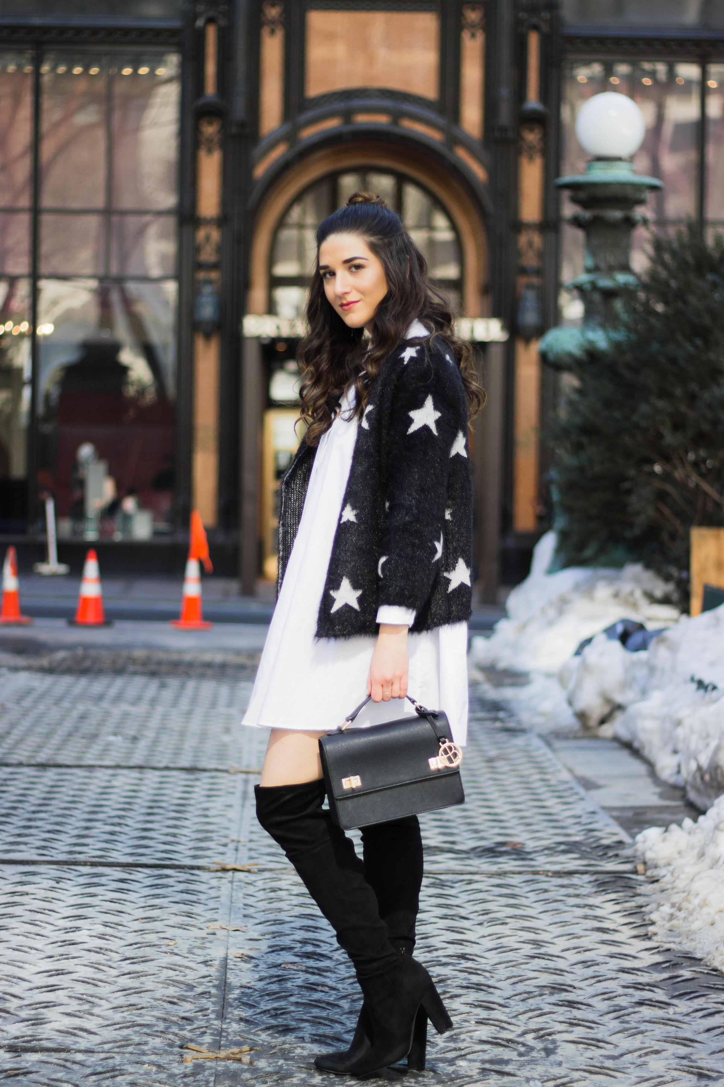 Trescool Star Jacket How NYC Changed My Style Esther Santer Fashion Blog NYC Street Style Blogger Outfit OOTD Trendy Henri Bendel Black Bag Over The Knee Boots Topknot Bun Women Girl White Button Down Shirt Dress Zara Shoes Purse Wearing Shopping Shop.jpg