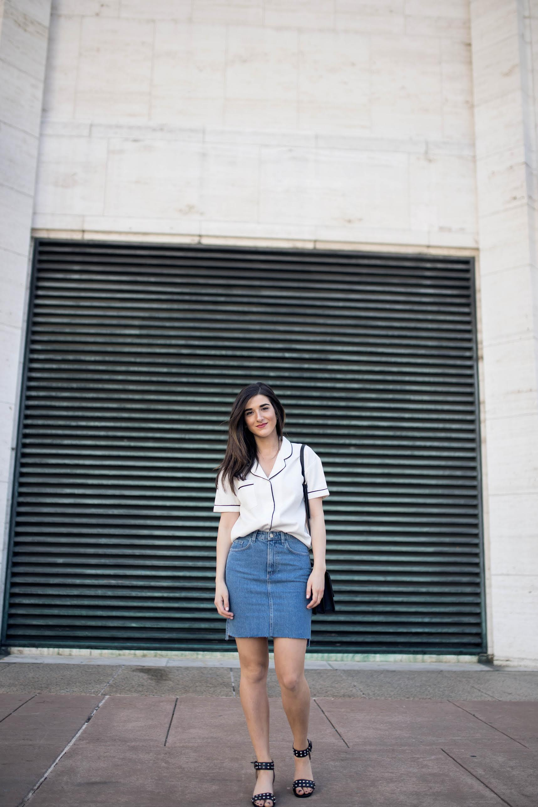 Pajama Top Denim Skirt 4 Reasons to Think Twice Before Signing a Contract Esther Santer Fashion Blog NYC Street Style Blogger Outfit OOTD Trendy Collar Light Jean Studded Sandals Shoes Summer Look Inspo Hair Photoshoot Model Girl Women Purse Shopping.jpg