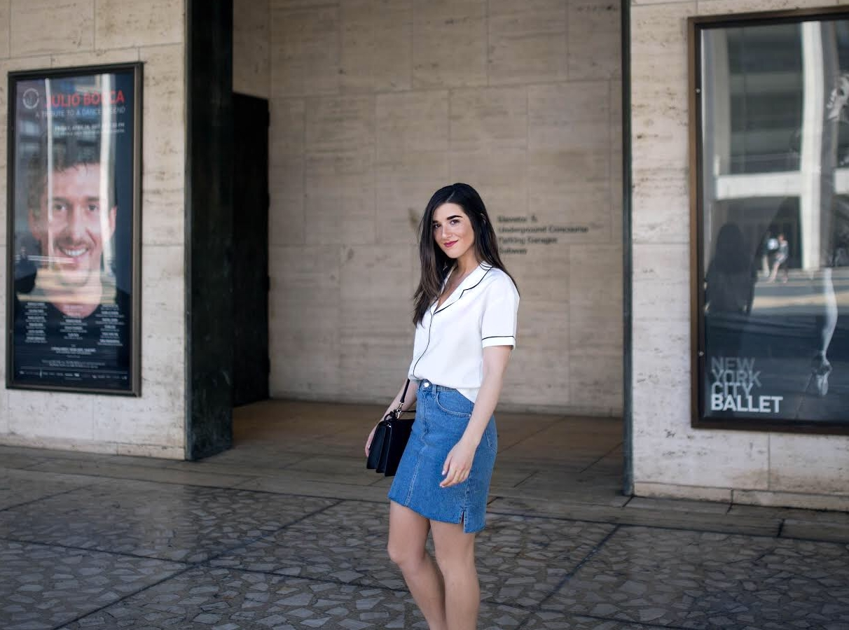Pajama Top Denim Skirt 4 Reasons to Think Twice Before Signing a Contract Esther Santer Fashion Blog NYC Street Style Blogger Outfit OOTD Trendy Collar Light Jean Studded Sandals Shoes Summer Look Inspo Photoshoot Hair Model Women Girl Purse Shopping.jpg