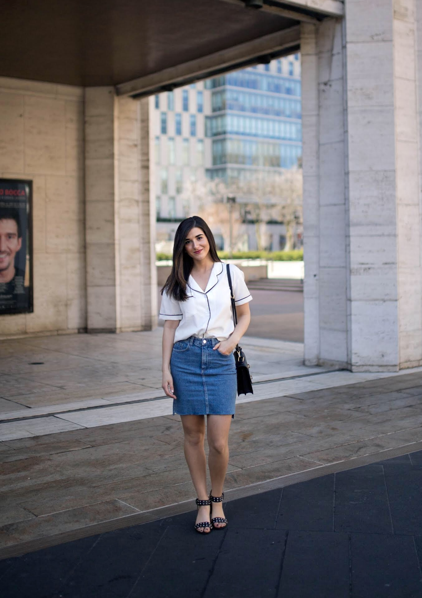 Pajama Top Denim Skirt 4 Reasons to Think Twice Before Signing a Contract Esther Santer Fashion Blog NYC Street Style Blogger Outfit OOTD Trendy Collar Light Jean Studded Sandals Shoes Summer Look Inspo Hair Photoshoot Model Women Girl Purse Shopping.jpg