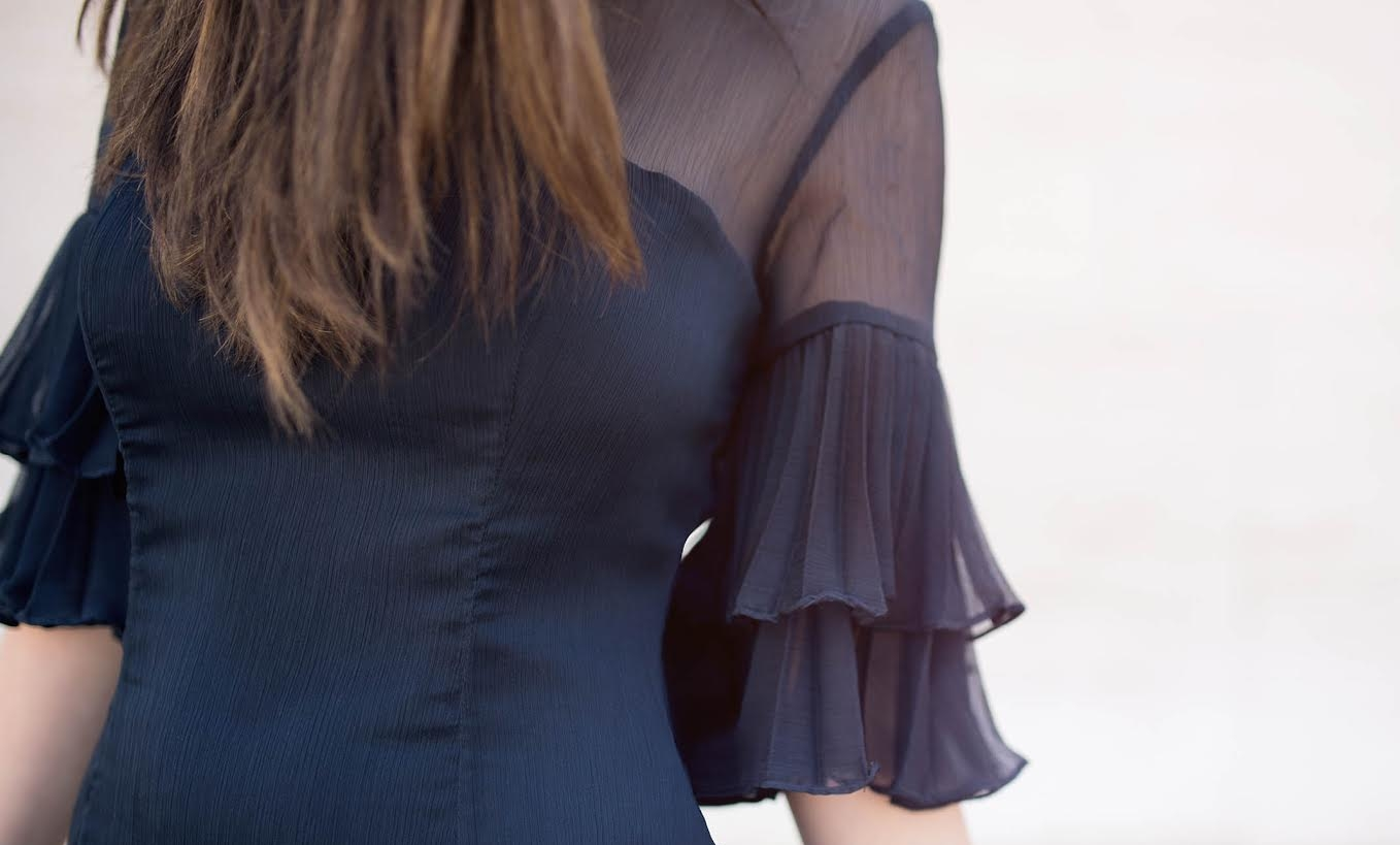 Lulus Ruffle Sleeve Dress The Best And Worst Fads of 2017 Esther Santer Fashion Blog NYC Street Style Blogger Outfit OOTD Trendy Pretty Feminine Navy Elegant Fancy Summer Look Sheer Black Studded Sandals Beauty Straight Hair Shop Girl Women Photoshoot.jpg