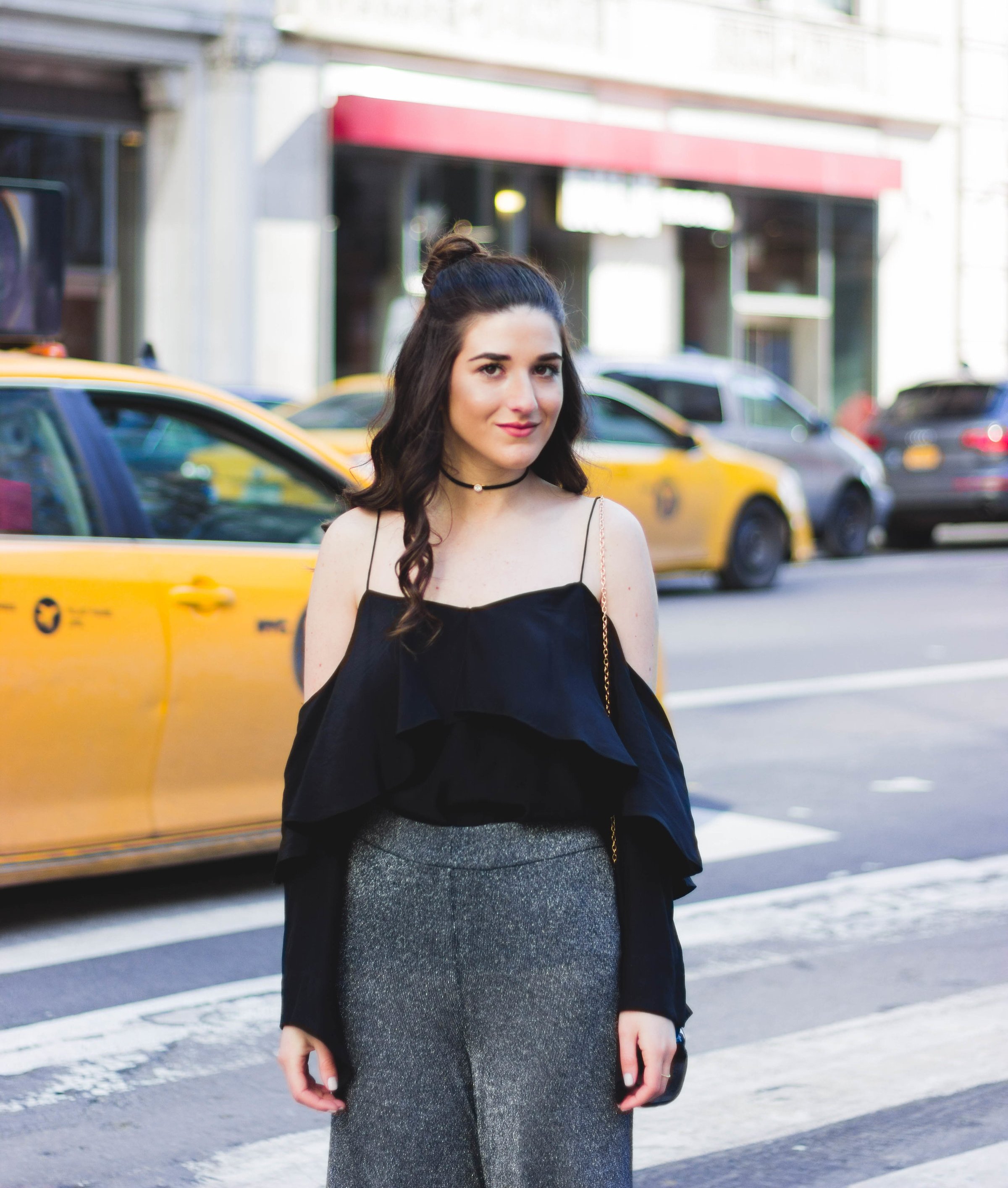Metallic Pants Black Silk Top How To Find A Photographer Esther Santer Fashion Blog NYC Street Style Blogger Outfit OOTD Trendy Jay Godfrey Lips Clutch Bag Cold Shoulder Jewel Choker Tassel Slides Hair Topknot Girl Photoshoot Women Summer Shop Wearing.jpg