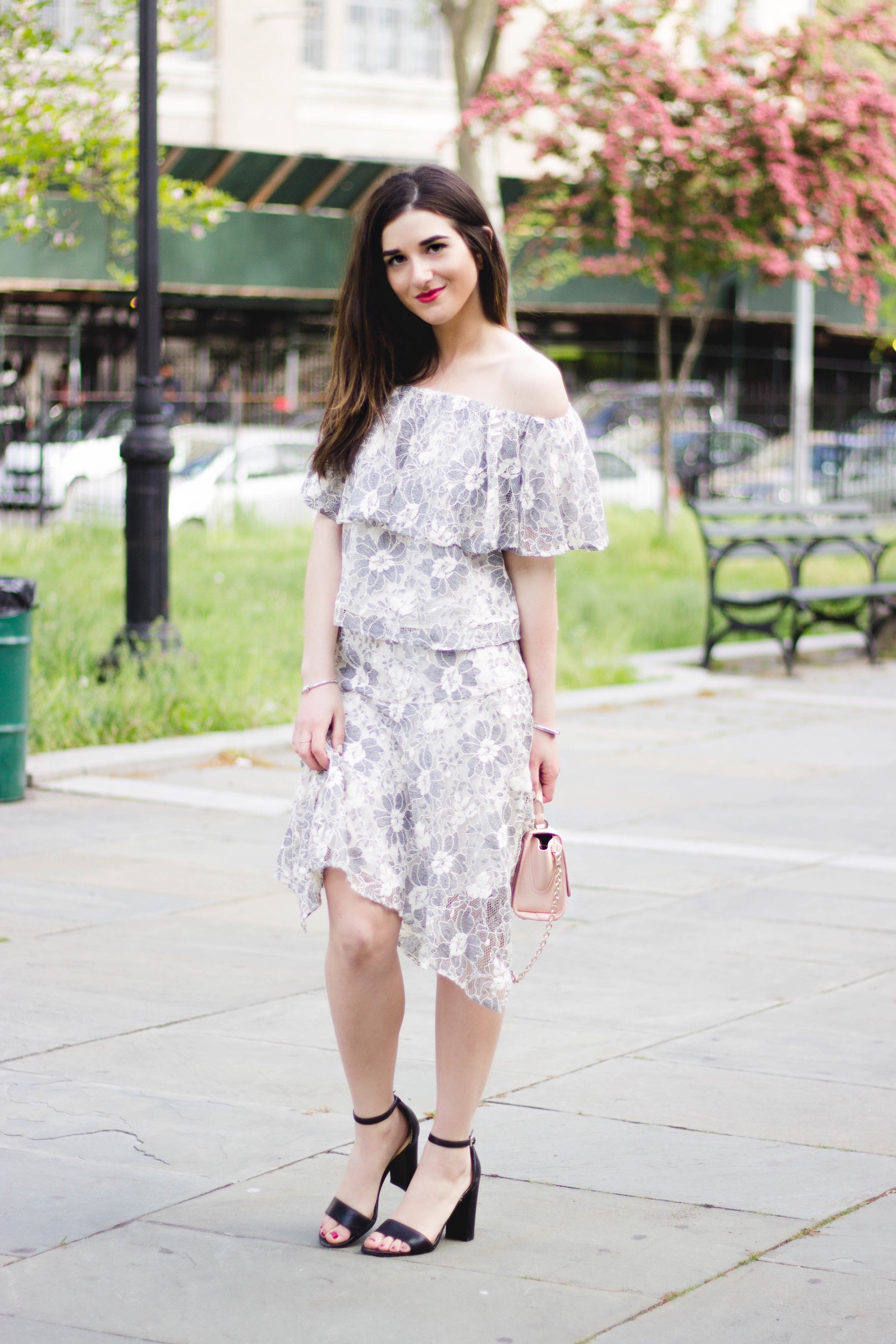 Rachel Roy Floral Lace Set 10 Weird Things Bloggers Do Esther Santer Fashion Blog NYC Street Style Blogger Outfit OOTD Trendy Girl Women Black Heels Sandals Shoes ink Zac Posen Bag Bracelets Accessories Beautiful Photoshoot Shop Summer Wear Feminine.jpg