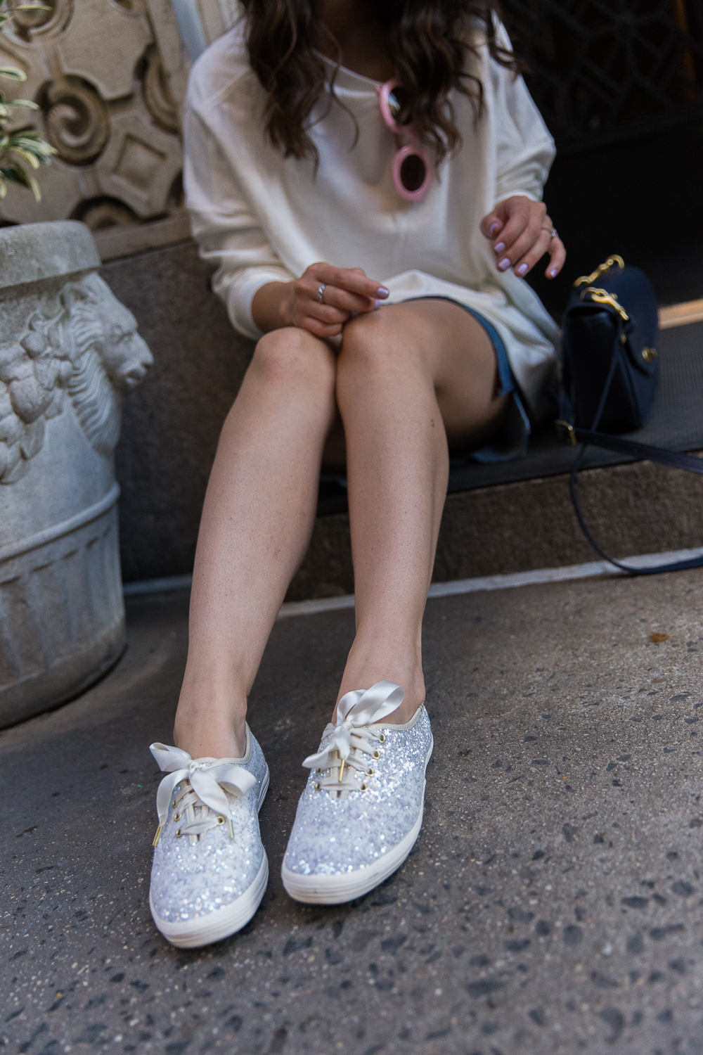 Glitter Sneakers Keds Esther Santer Fashion Blog NYC Street Style Blogger Outfit OOTD Trendy Wedding Idea Ribbon Laces Cream Color Dancing Oversized Sweatshirt Navy Blue Purse Pink Sunglasses Girl Women Shoes Wear Shopping Casual Activewear Feminine.jpg