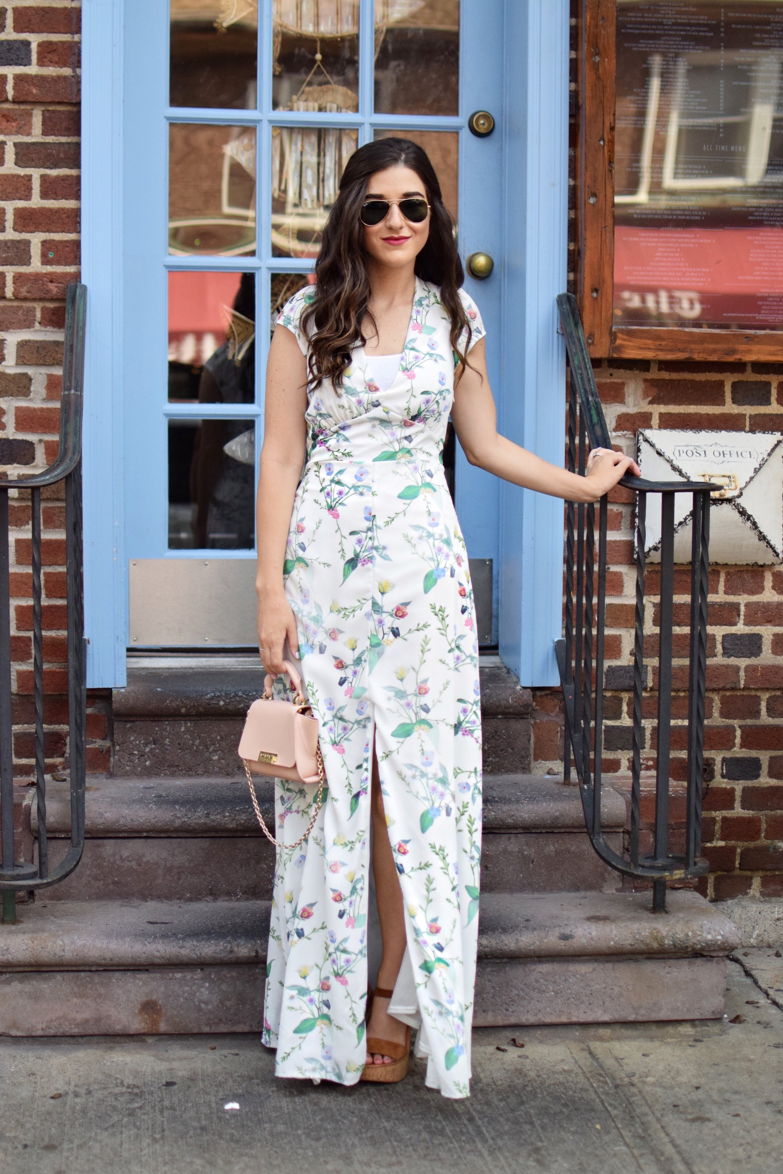 Floral Maxi Dress Trescool Esther Santer Fashion Blog NYC Street Style Blogger Outfit OOTD Trendy Summer Look Idea Inspiration Inspo Girl Women Zac Posen Mini Pink Bag Purse Sunglasses RayBan Aviators  Cork Wedges Dolce Vita Photoshoot New York City.JPG