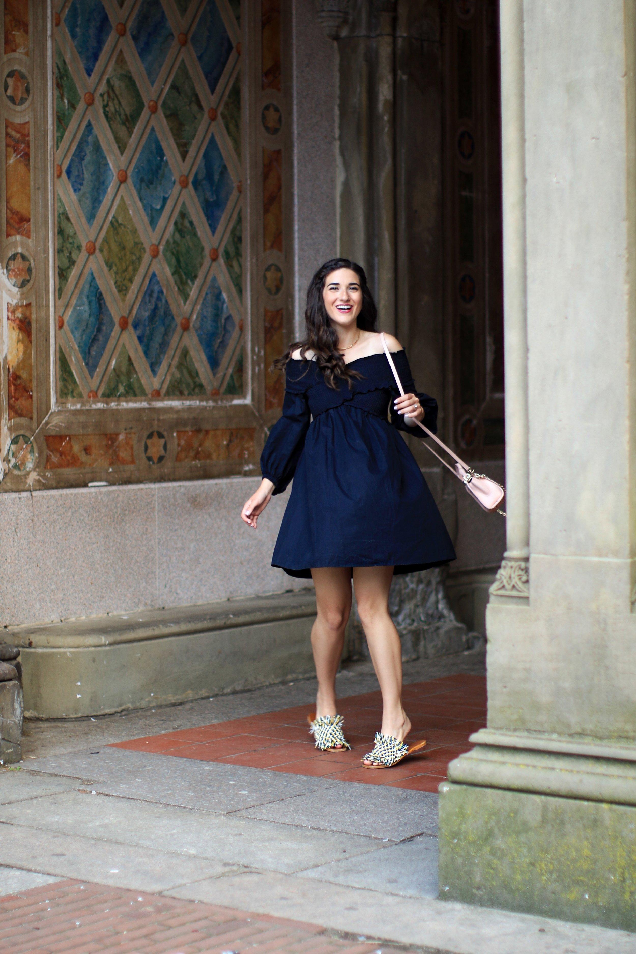 Navy Dress Fringe Slides 27 Blogging Tips For My 27th Birthday Esther Santer Fashion Blog NYC Street Style Blogger Outfit OOTD Trendy Girl Women Pink Bag Zac Posen Purse Summer Sandals What To Wear Inspiration  Inspo Shoes Girly Feminine New York City.JPG
