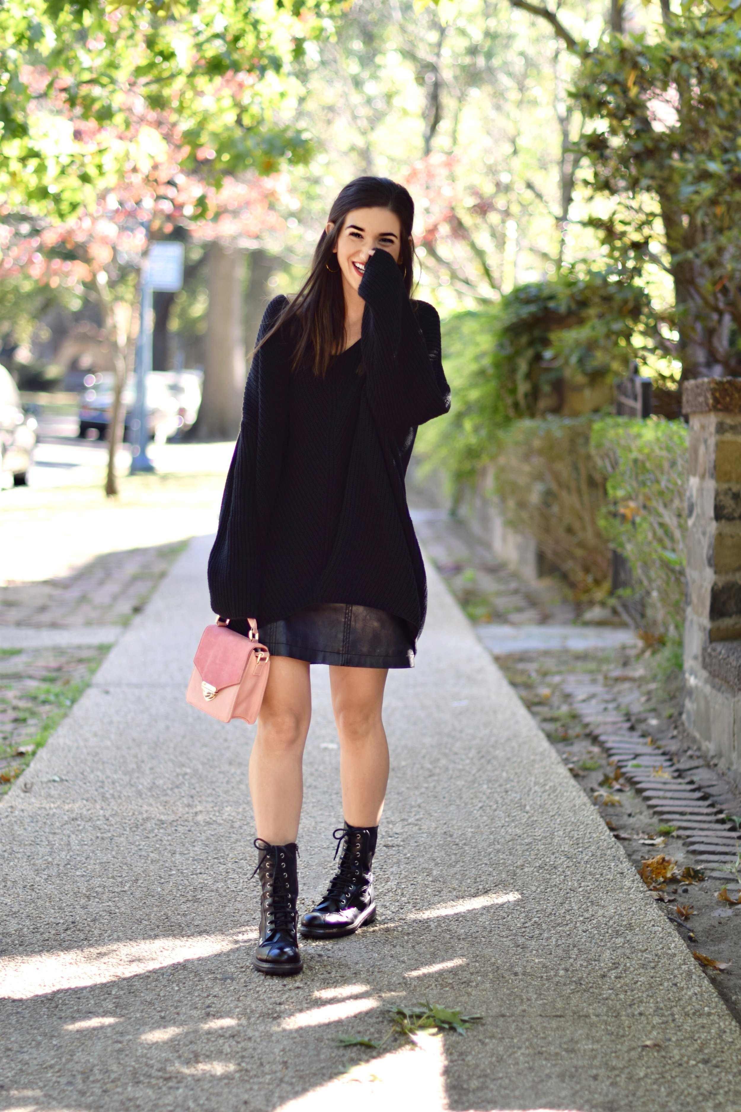 sweater dress with combat boots