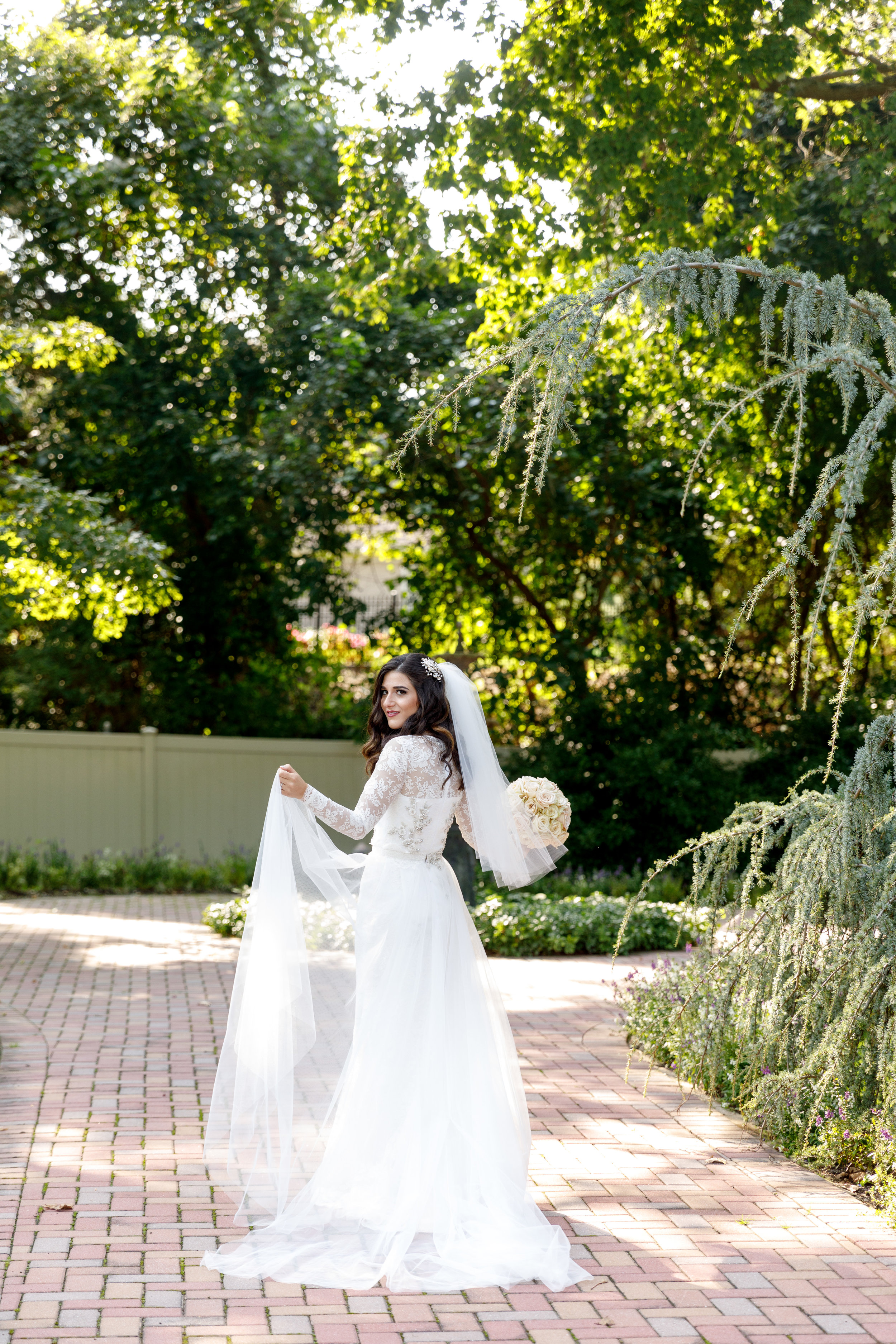 First Look At My Custom Raquel Couture Wedding Dress Esther Santer Fashion Blog NYC Street Style Blogger Outfit OOTD Trendy Fall Ceremony Portrait Photography Bride Groom Beautiful  Outdoor Reception Dancing Inspiration Tulle Train Beading White Lace.JPG
