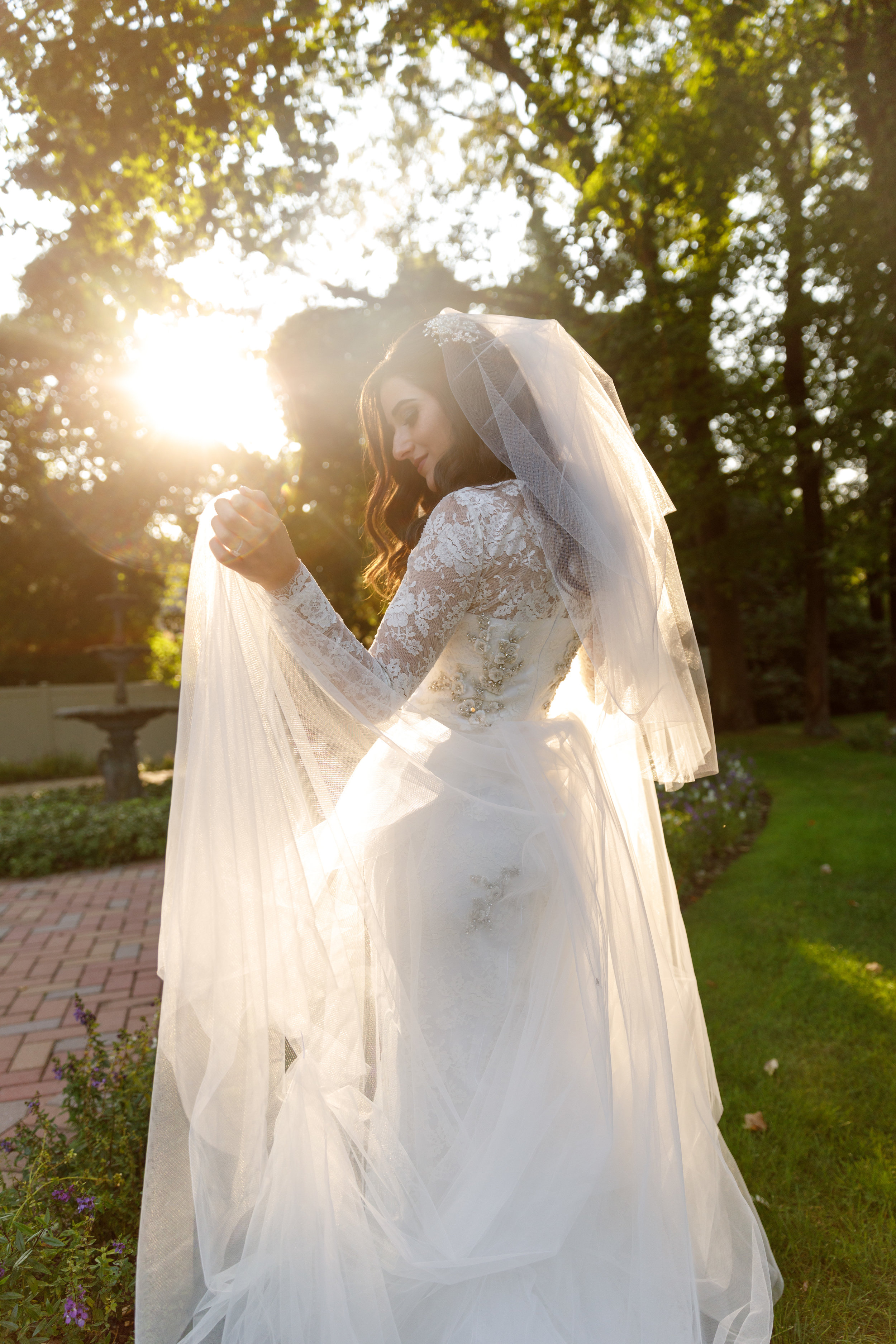 First Look At My Custom Raquel Couture Wedding Dress Esther Santer Fashion Blog NYC Street Style Blogger Outfit OOTD Trendy Fall Ceremony Portrait Photography Bride Groom Beautiful Outdoor Reception Dancing Tulle Train  Beading White Lace Inspiration.JPG