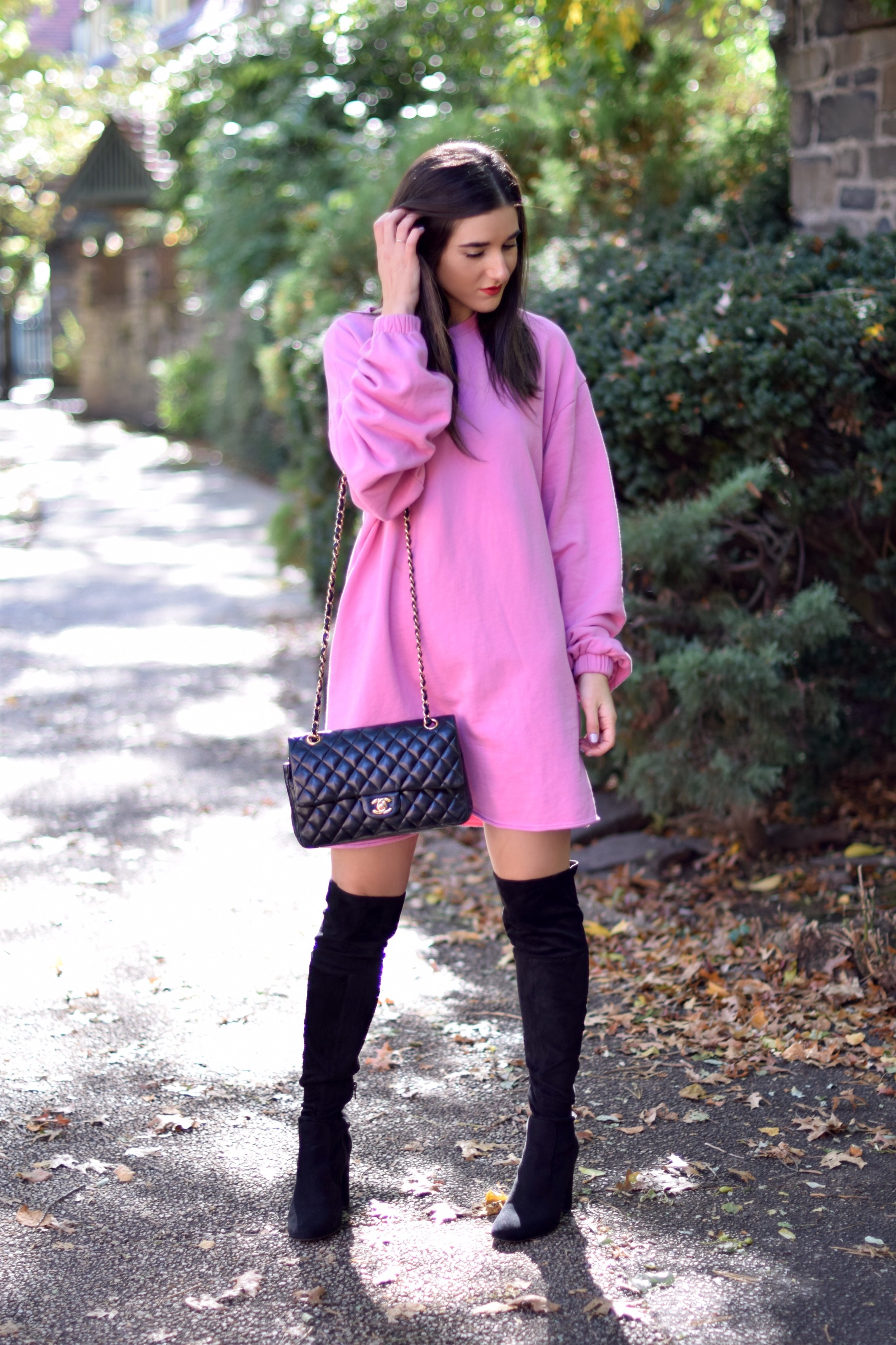 Pink Sweatshirt Dress Black OTK Boots Blogging Before The Days Of Instagram Esther Santer Fashion Blog NYC Street Style Blogger Outfit OOTD Trendy Over The Knee Hair Girl Women New York Chanel Bag Designer ASOS Pretty Shopping  Sale Beautiful Winter.jpg