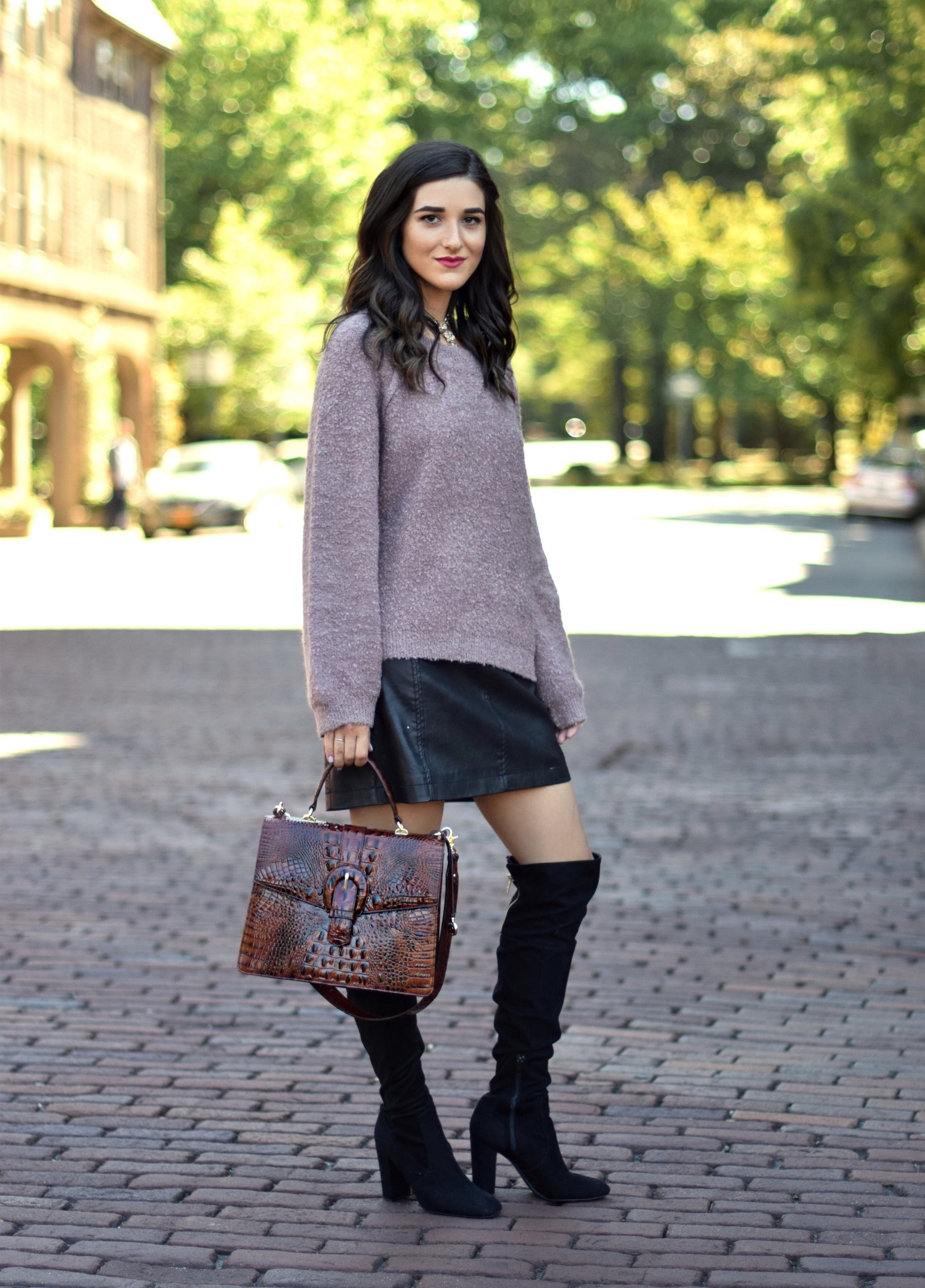 Purple Sweater + Black Leather Skirt // 8 Tips On Switching