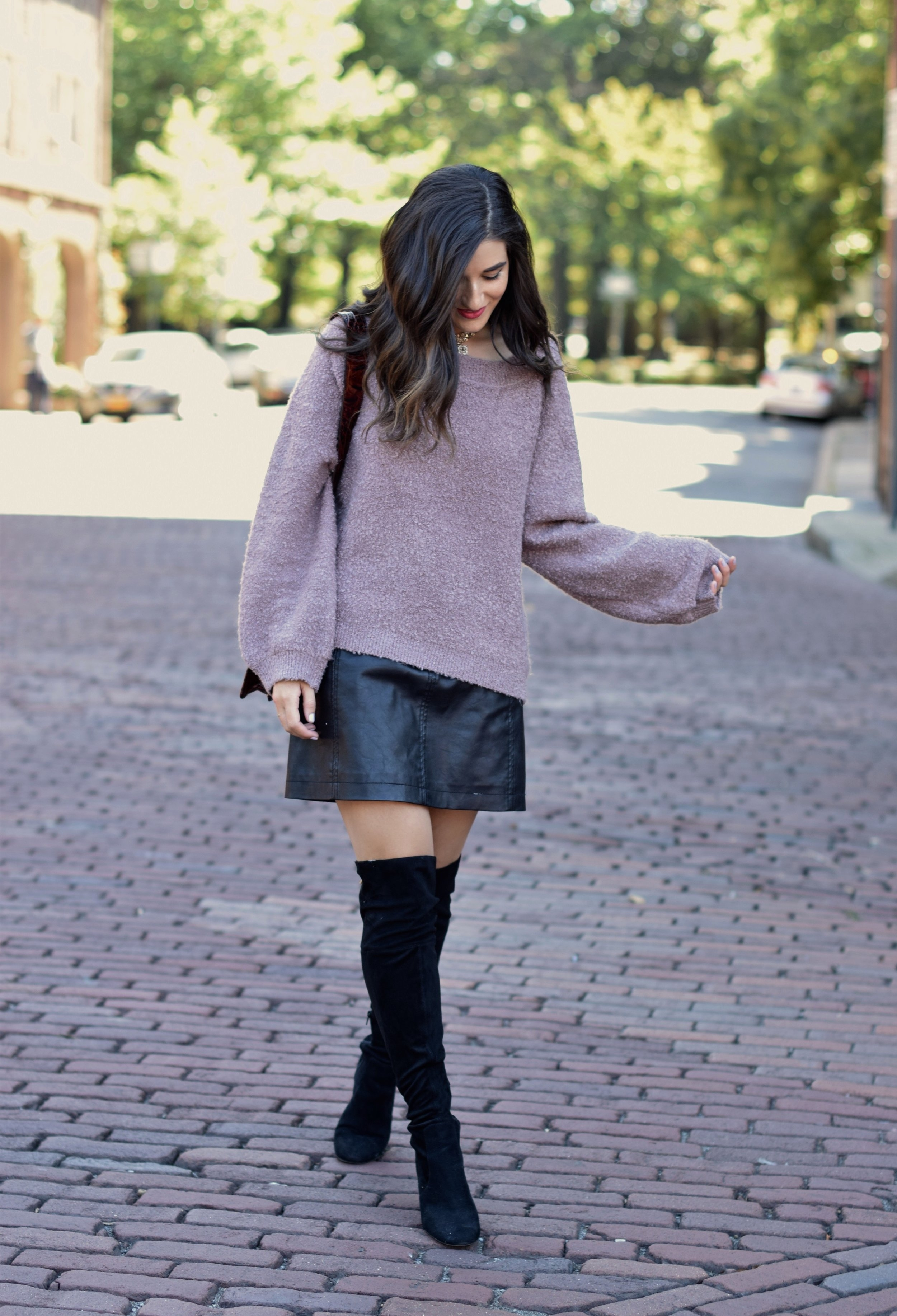 Purple Sweater Black Leather Skirt 8 Tips On Switching Your Blog Name Esther Santer Fashion Blog NYC Street Style Blogger Outfit OOTD Trendy Sunglasses Brahmin Bag Kendra Scott Choker Necklace Girl Women Urban Outfitters Winter Look Sale  Shopping.jpg