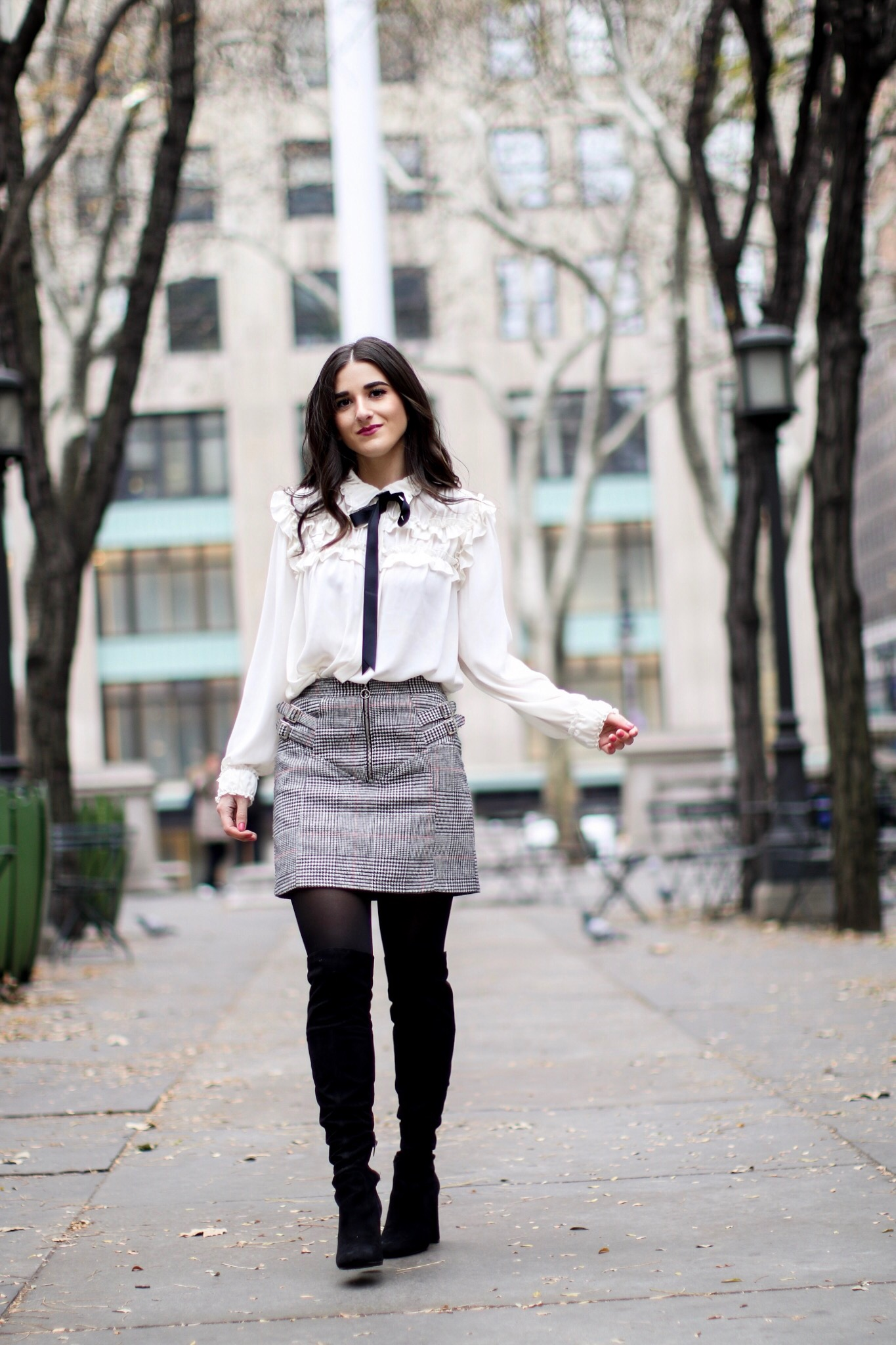White Bow Blouse Grey Plaid Skirt 5 Tips To Meet Your Deadlines Esther Santer Fashion Blog NYC Street Style Blogger Outfit OOTD Trendy Black Bow Over The Knee Boots Girl Women Sophisticated Classy Feminine Shoes Henri Bendel West 57th Schoolbag Shop.JPG