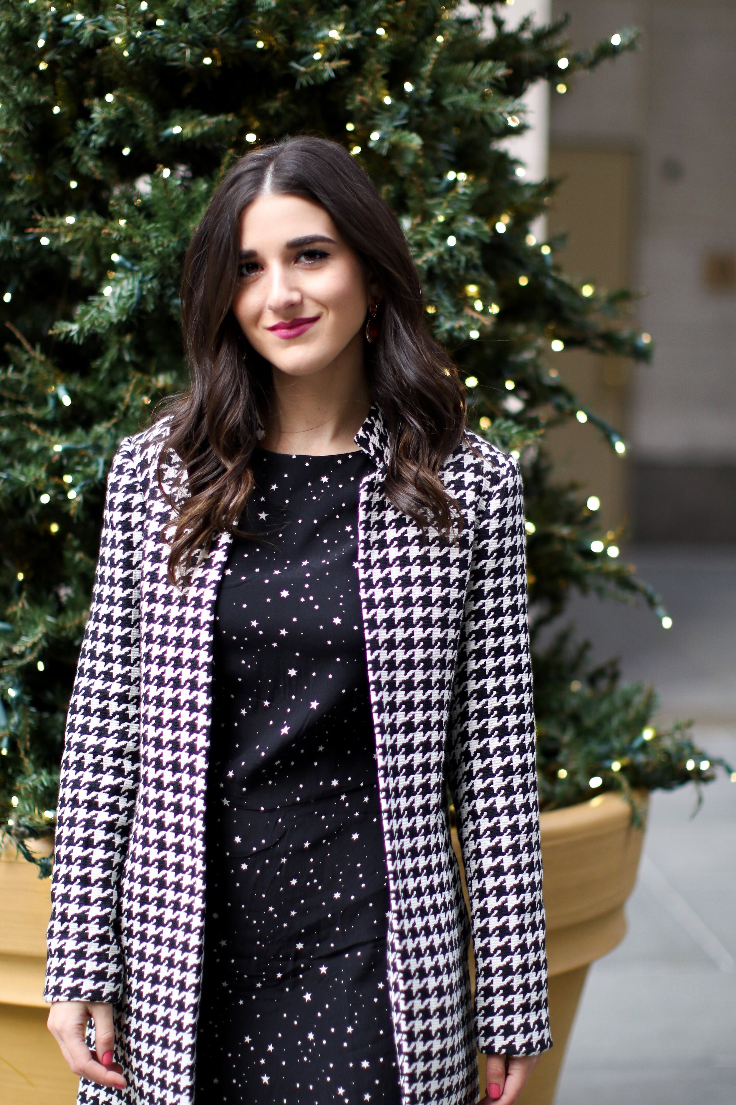 Houndstooth Coat White Booties The Pros And Cons Of Freelancing Esther Santer Fashion Blog NYC Street Style Blogger Outfit OOTD Trendy Holiday Season New York City Photoshoot Pretty Hair Black Star Dress Cute Shoes Winter Women Shop Wear H&M Zara Girl.jpg