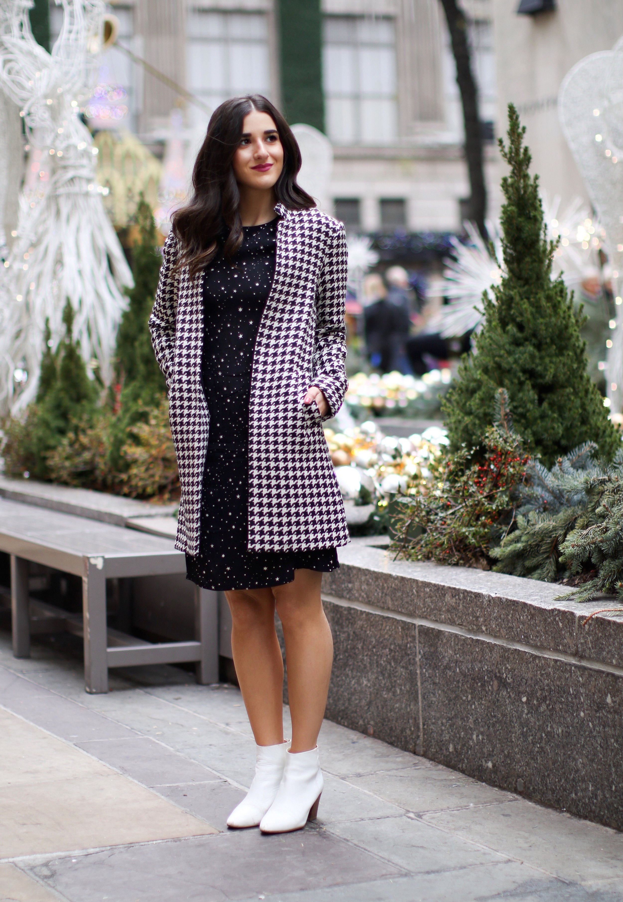 Houndstooth Coat White Booties The Pros And Cons Of Freelancing Esther Santer Fashion Blog NYC Street Style Blogger Outfit OOTD Trendy Holiday Season New York City Photoshoot Pretty Hair Black Star Dress Cute Shoes Shop H&M Zara Girl Winter Women Wear.jpg