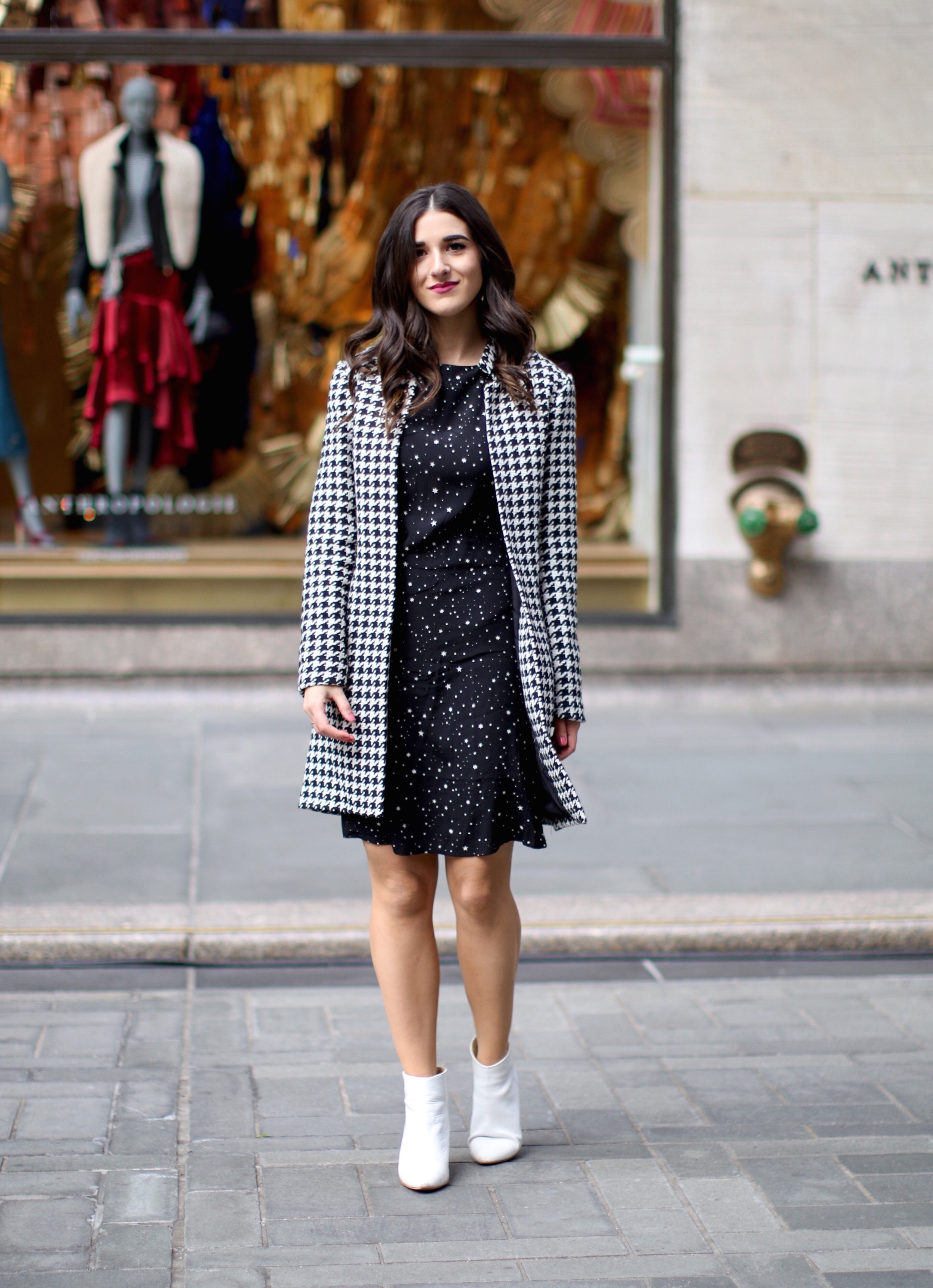 Houndstooth Coat White Booties The Pros And Cons Of Freelancing Esther Santer Fashion Blog NYC Street Style Blogger Outfit OOTD Trendy Holiday Season New York City Photoshoot Pretty Hair Black Star Dress Cute Shoes Women Shop Wear H&M Zara Girl Winter.jpg