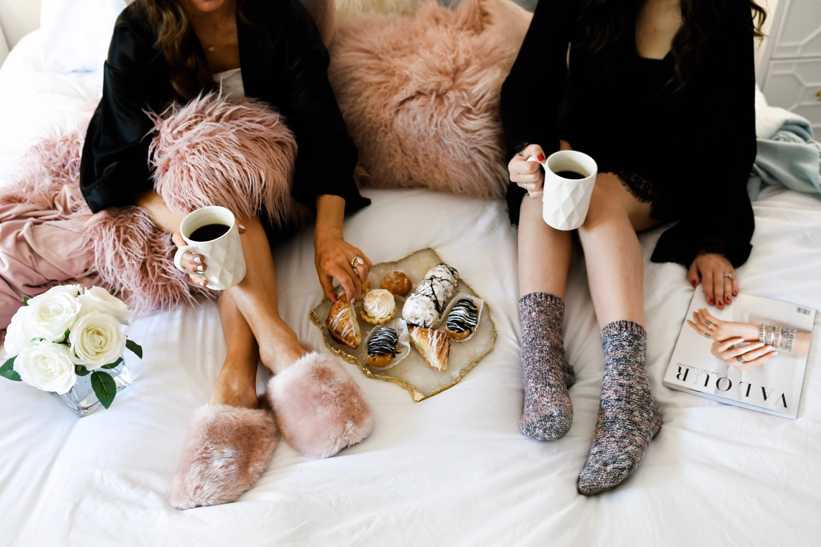 Girls' Night In With Valour Magazine Esther Santer Fashion Blog NYC Street Style Blogger Outfit OOTD Trendy Eishes Style Cozy Blanket Throw Pillows Flowers Desserts Pastries Black Robes Pink Fur Fuzzy Slippers Jcrew Adore Me Socks  Mugs Coffee  Women.jpg