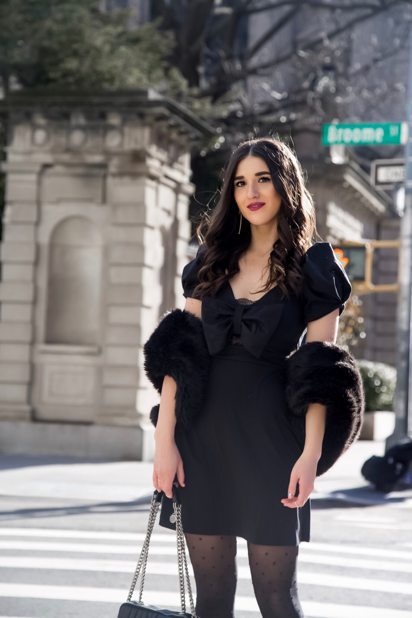The Right Way To Ask For A Favor Black Bow Dress Polka Dot Tights Esther Santer Fashion Blog NYC Street Style Blogger Outfit OOTD Trendy ASOS Zara Fur Stole Druzy Earrings Bauble Bar Hair Girl Women Shoes Pointy Toe Booties Heels  Accessories  Winter.jpg