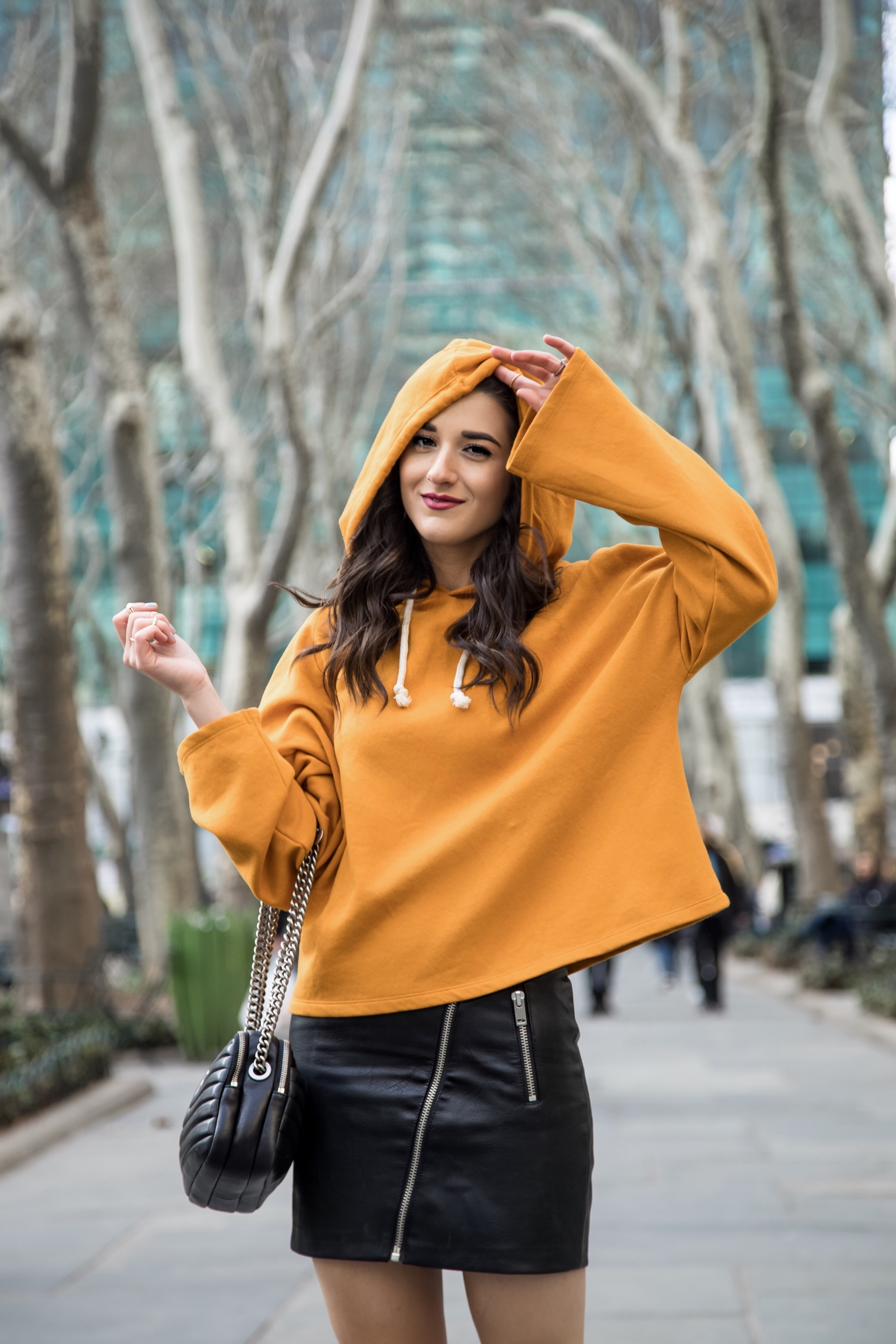 How Blogging Affected My Self Confidence Yellow Sweatshirt Black Pleather Skirt Esther Santer Fashion Blog NYC Street Style Blogger Outfit OOTD Trendy Zara ASOS Hairstyle Sporty Girly Open Toe Booties Shopping Buy Wear Fall Winter Hood Mustard Color.jpg