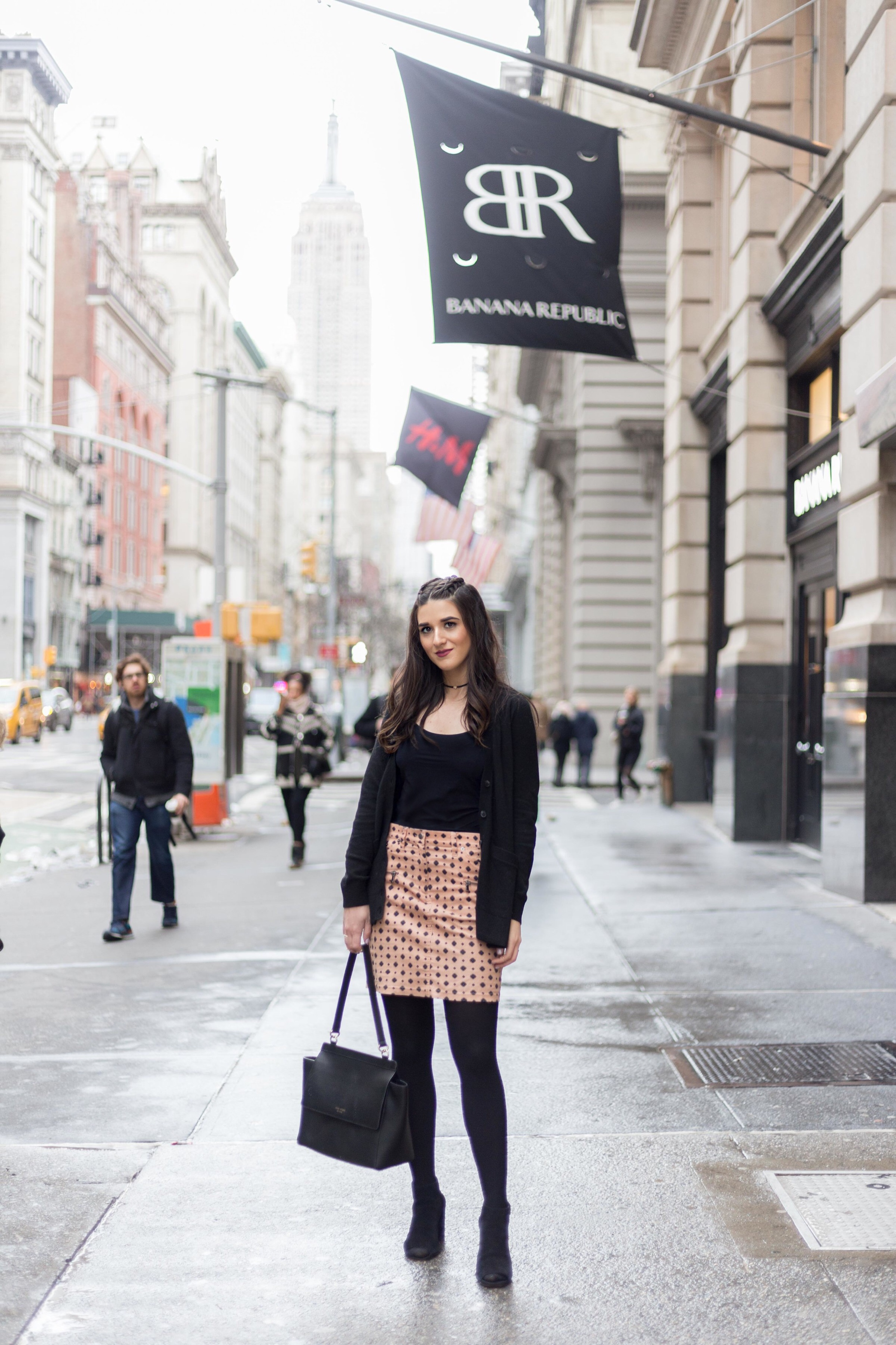 Banana Republic Black Cardigan Corduroy Skirt Why I'm Excited For Spring Esther Santer Fashion Blog NYC Street Style Blogger Outfit OOTD Trendy Braids Hairstyle Tights Commando Tank Top Bodysuit Girl Women Club Monaco Choker Henri Bendel Bag Purse.jpg