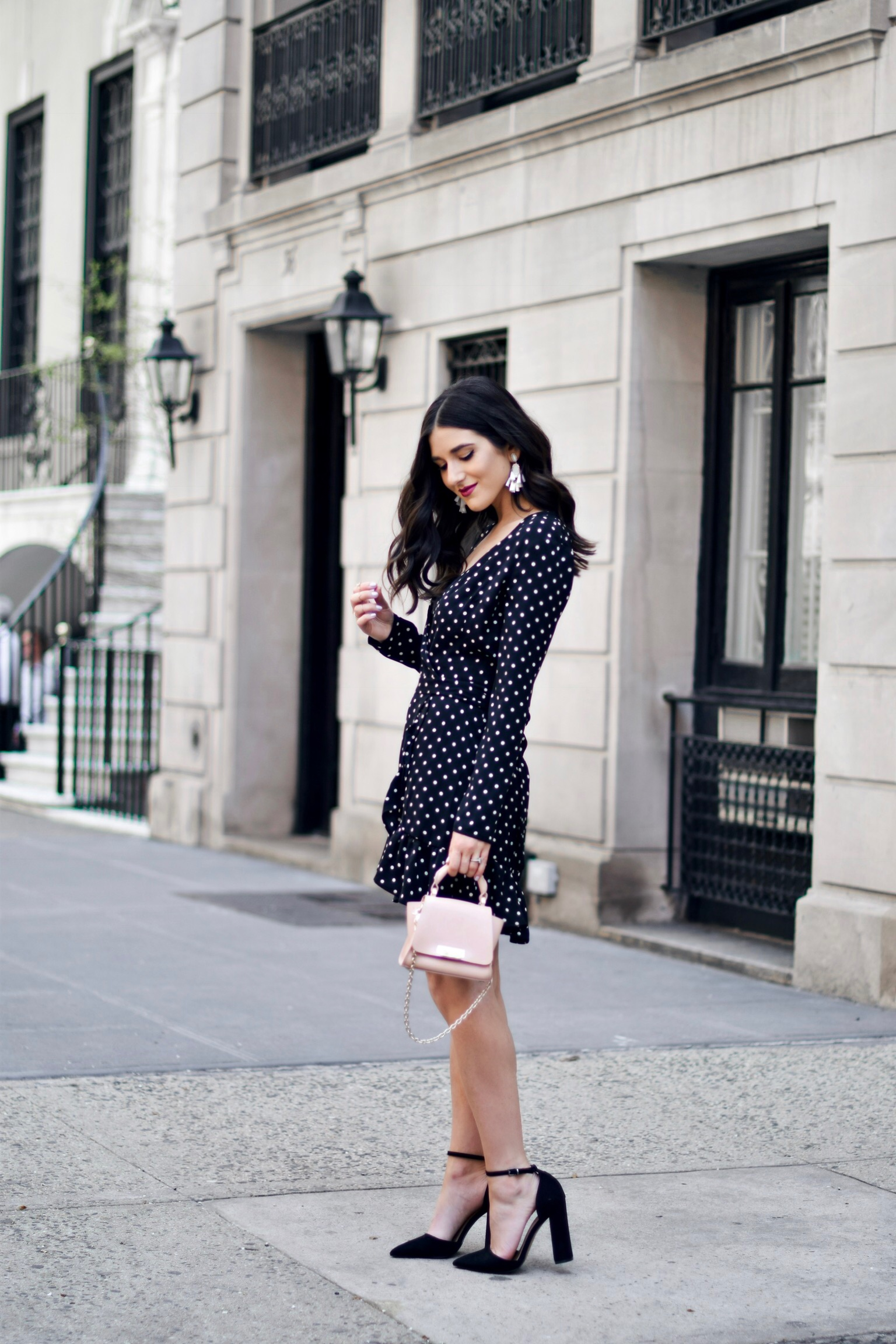 Polka Dot Wrap Dress Statement Earrings My 5 Blogging Rules While On My Honeymoon Esther Santer Fashion Blog NYC Street Style Blogger Outfit OOTD Trendy Kendra Scott ASOS Travel Content Married Husband Happy Summer Beautiful Bag Pointy Toe Ankle Strap.JPG