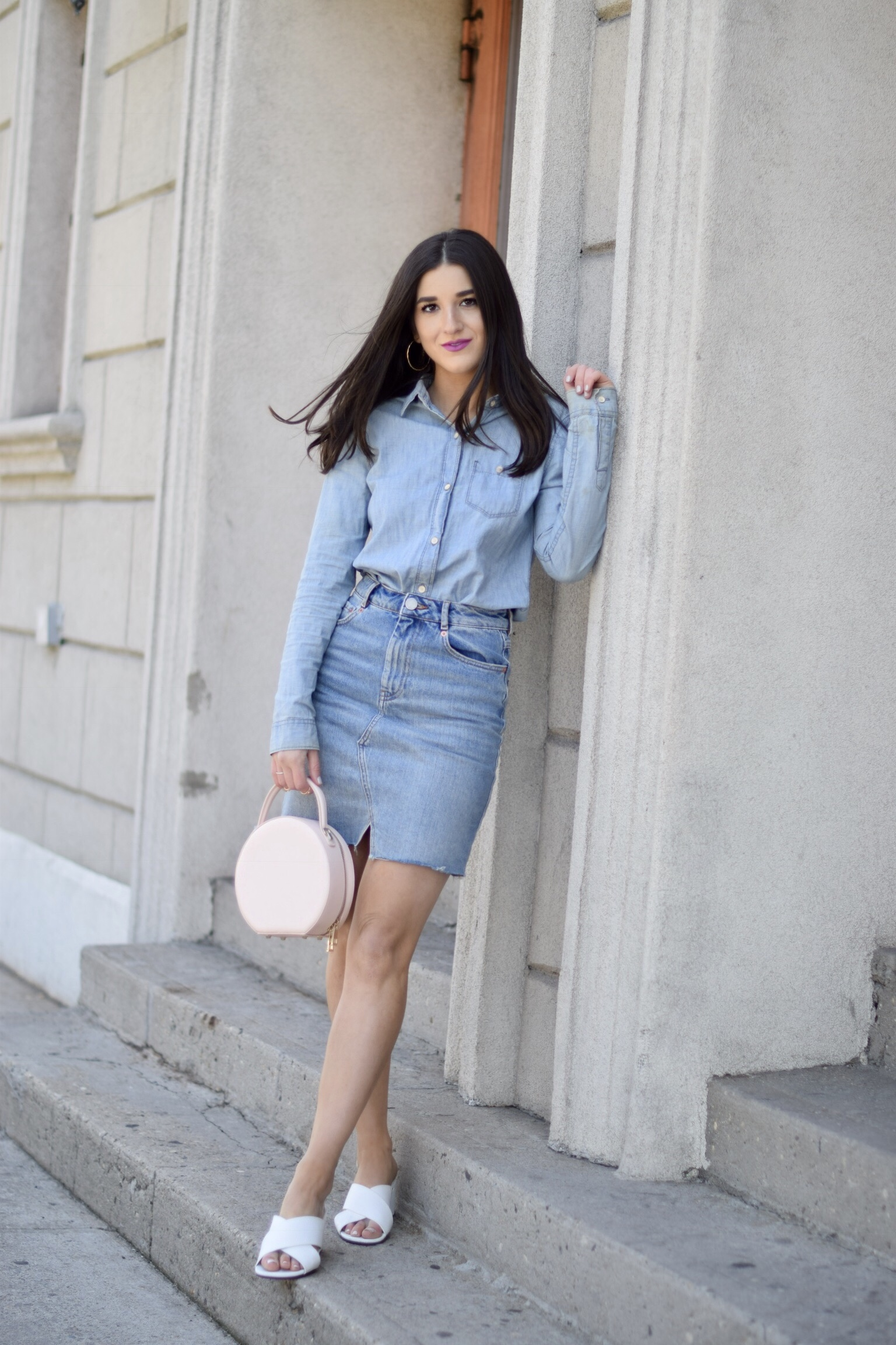 Do You Need Money To Be A Blogger Canadian Tuxedo White Mules Esther Santer Fashion Blog NYC Street Style Blogger Outfit OOTD Trendy Denim Skirt Jean Shirt Gap ASOS Shoes Girl Women Gold Hoops How To Wear Shop Buy Pretty New York City Pink Circle  Bag.jpg