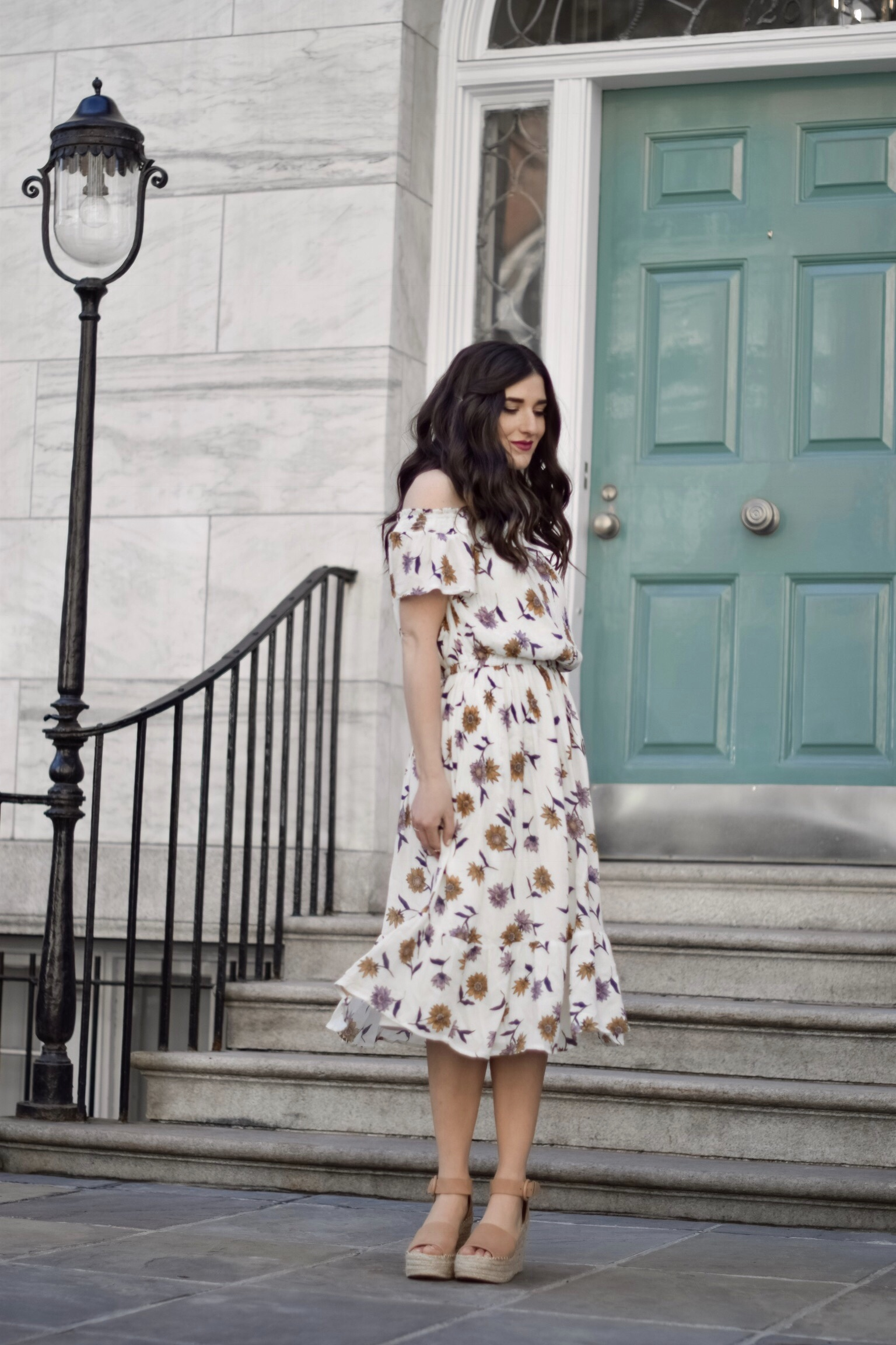Floral Cold Shoulder Dress Espadrille Wedges My Top 3 Rules Of Business Esther Santer Fashion Blog NYC Street Style Blogger Outfit OOTD Trendy Old Navy Marc Fisher Beautiful Photoshoot New York City Summer Spring Shoes How To  Wear Shopping Wardrobe.jpg