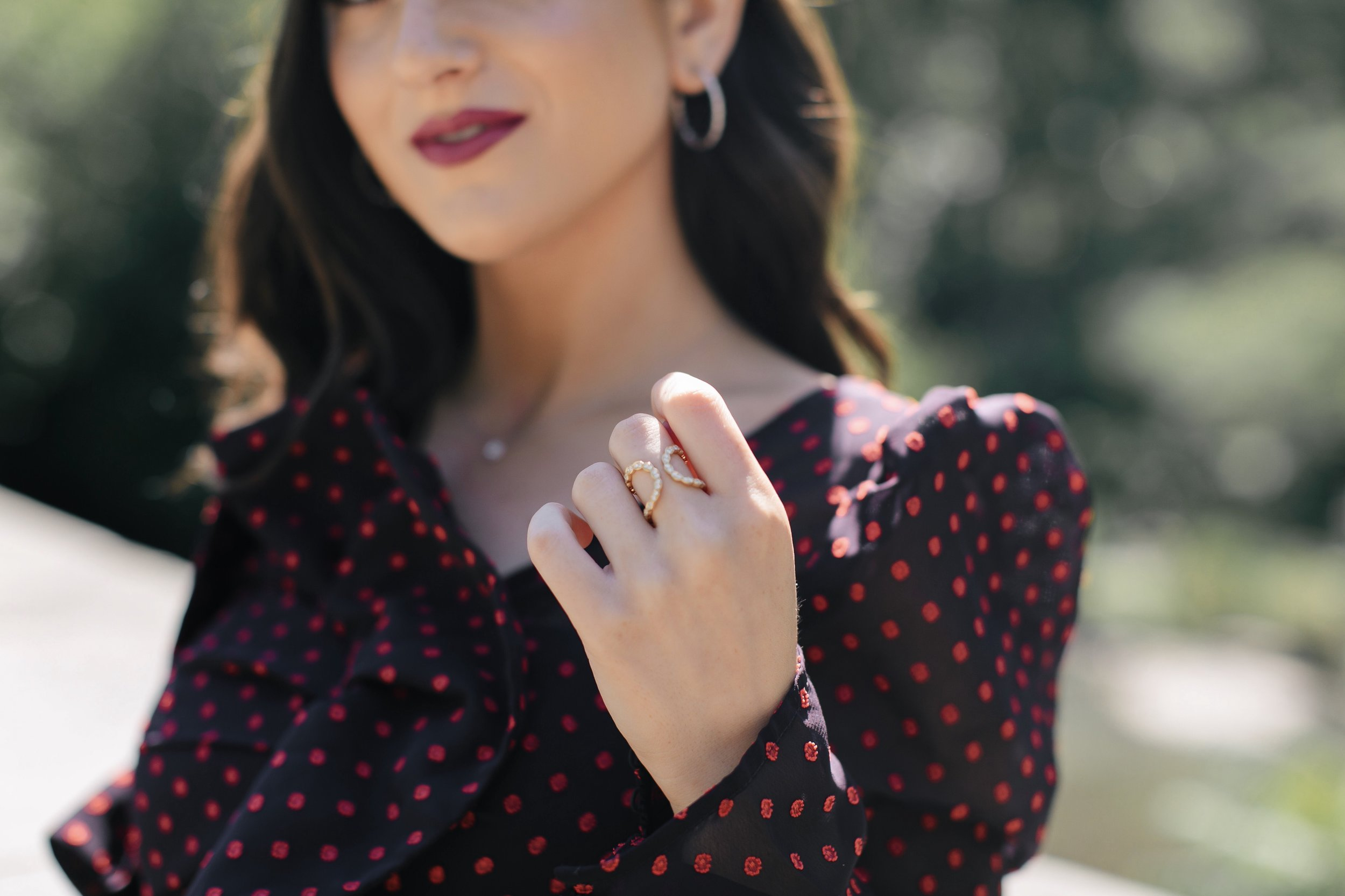 Decked Out In Diamonds Hearts On Fire Esther Santer NYC Street Style Blogger Outfit Self Portrait Necklace Ring Earrings Pretty Beautiful Perfect Cut Outfit Polka Dot Print Photoshoot Central Park New York City Wear Lipstick Women Girl Shopping Luxury.jpg