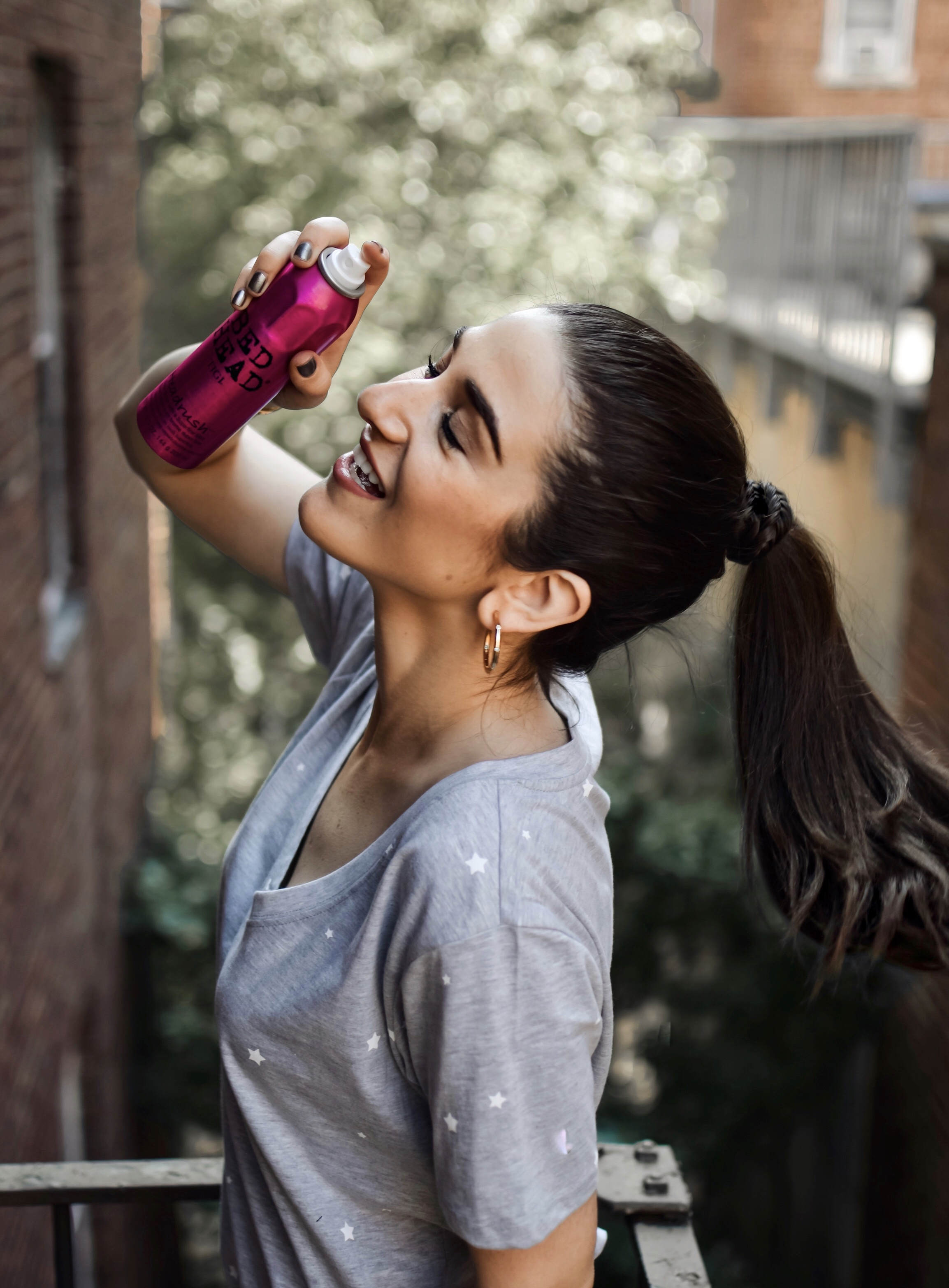 The Best Of Bed Head By TIGI Hair Products Esther Santer Fashion Blog NYC Street Style Blogger Outfit Trendy Silk Eye Mask Pink Pajamas Ponytail Braid Review Ulta Shopping Flowers Vanity Brush Girl Women Pigtails Anti Frizz Shine Spray Smoothing Cream.jpg