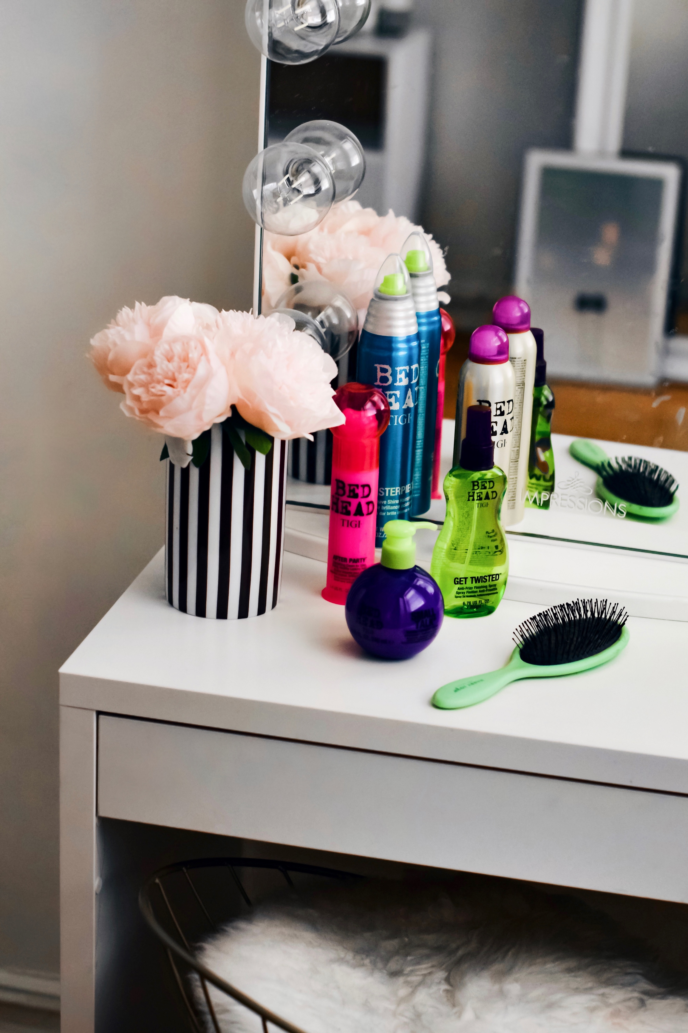 The Best Of Bed Head By TIGI Hair Products Esther Santer Fashion Blog NYC Street Style Blogger Outfit Trendy Silk Eye Mask Pink Pajamas Ponytail Braid Review Ulta Shopping Flowers Vanity Brush Girl Smoothing Cream Women Pigtails Anti Frizz Shine Spray.jpg