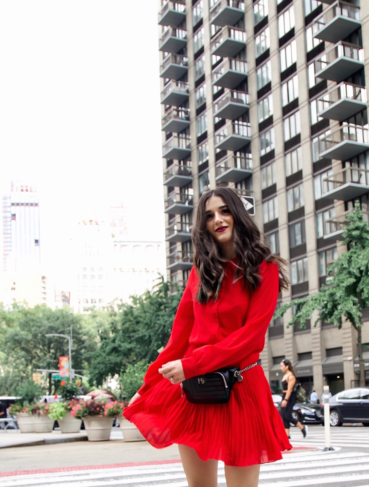 What Do Bloggers Do With All The Free Products They Receive Red Pleated Dress Black Belt Bag Esther Santer Fashion Blog NYC Street Style Blogger Outfit OOTD Trendy ASOS Vince Camuto Braided Sandals Shoes Hair Fanny Pack Women Girl Summer Fall Shopping.jpg