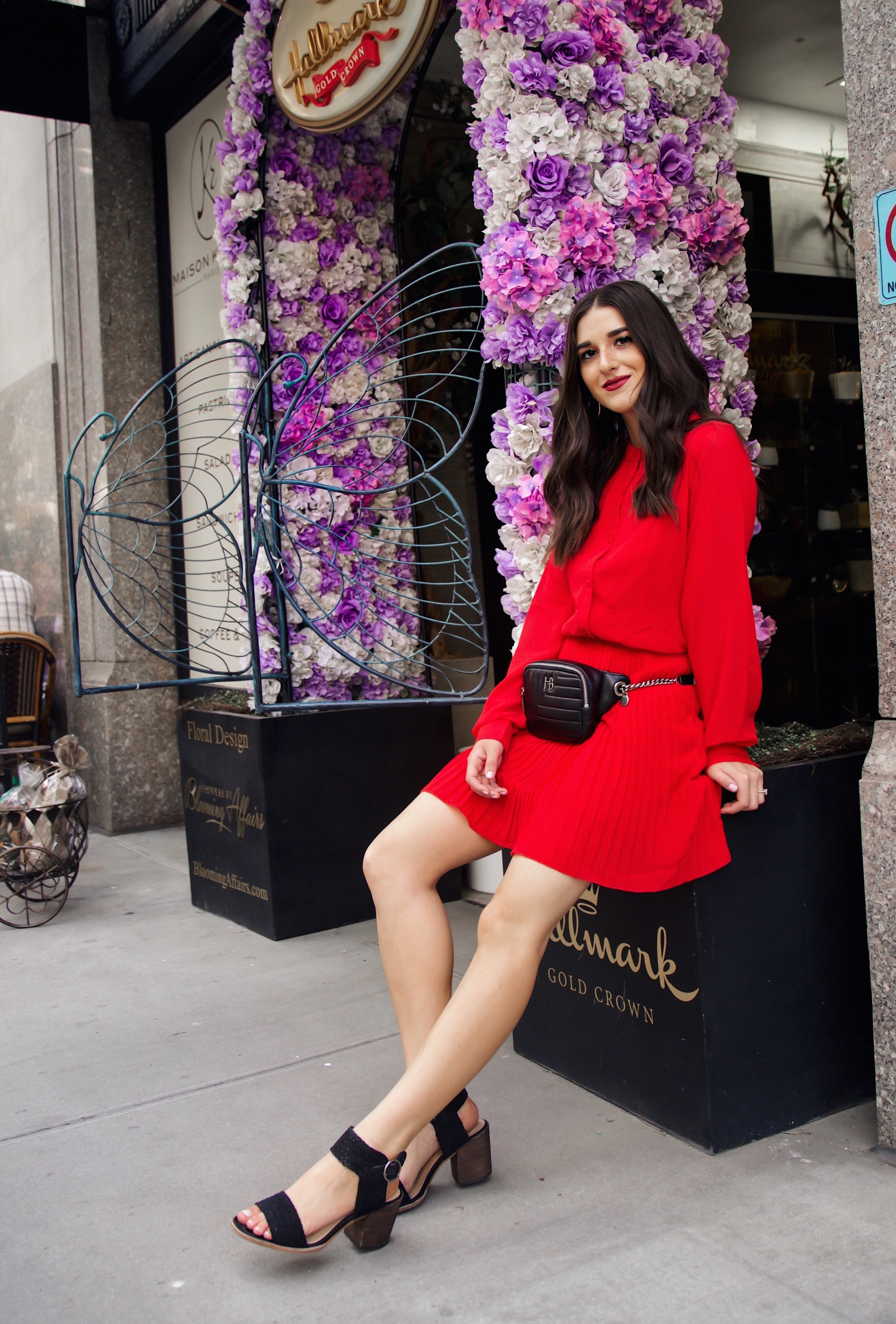 What Do Bloggers Do With All The Free Products They Receive Red Pleated Dress Black Belt Bag Esther Santer Fashion Blog NYC Street Style Blogger Outfit OOTD Trendy ASOS Vince Camuto Braided Sandals Shoes Hair Fanny Pack Women Shopping Girl Fall Summer.jpg