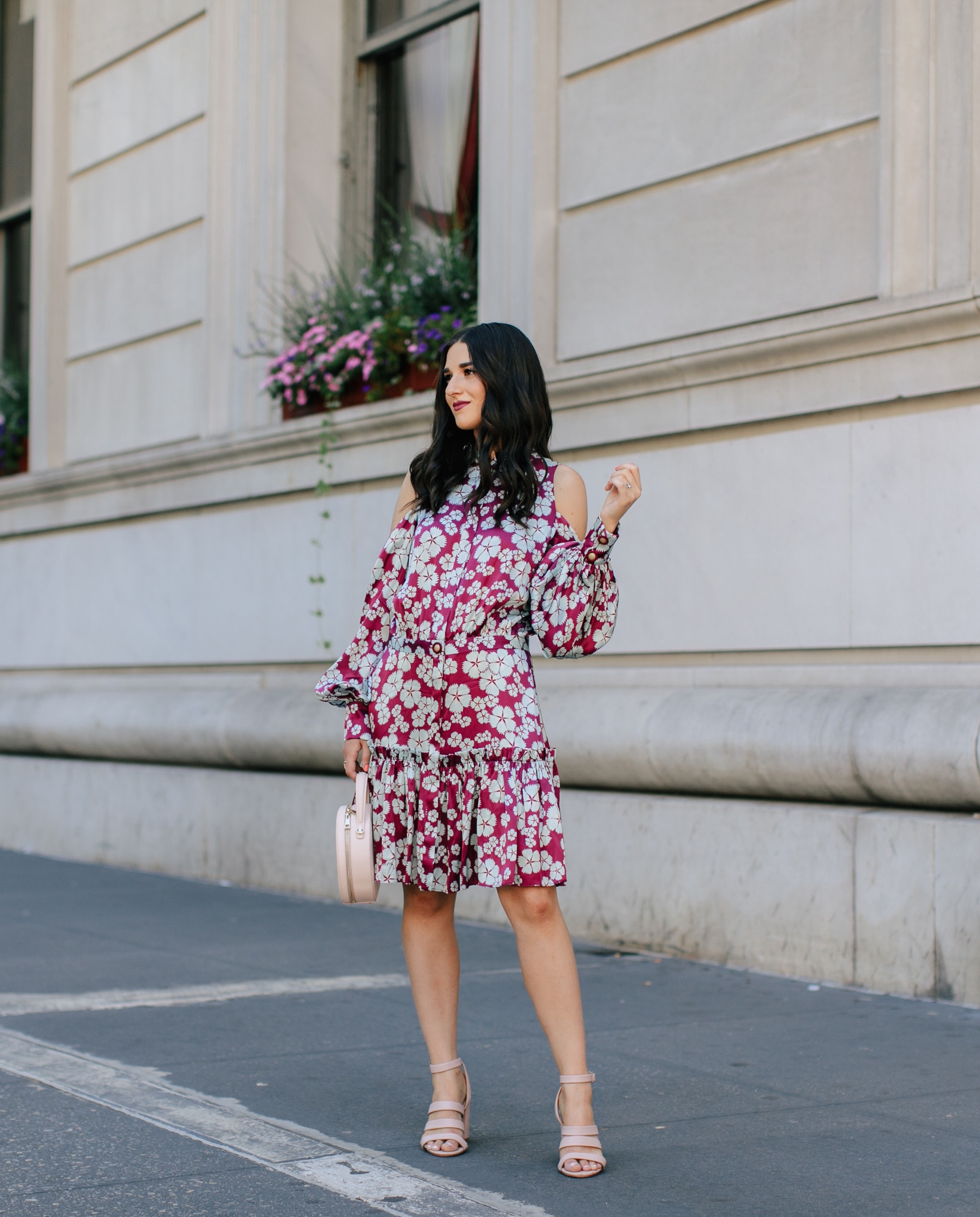 A Blogger's Guide To Turning Your S.O. Into Your Photographer Cold Shoulder Floral Dress Esther Santer Fashion Blog NYC Street Style Blogger Outfit OOTD Trendy Designer Nordstrom Strappy Blush Pink Heels Circle  Bag Shopping Wavy Hair Diamond Jewelry.jpg