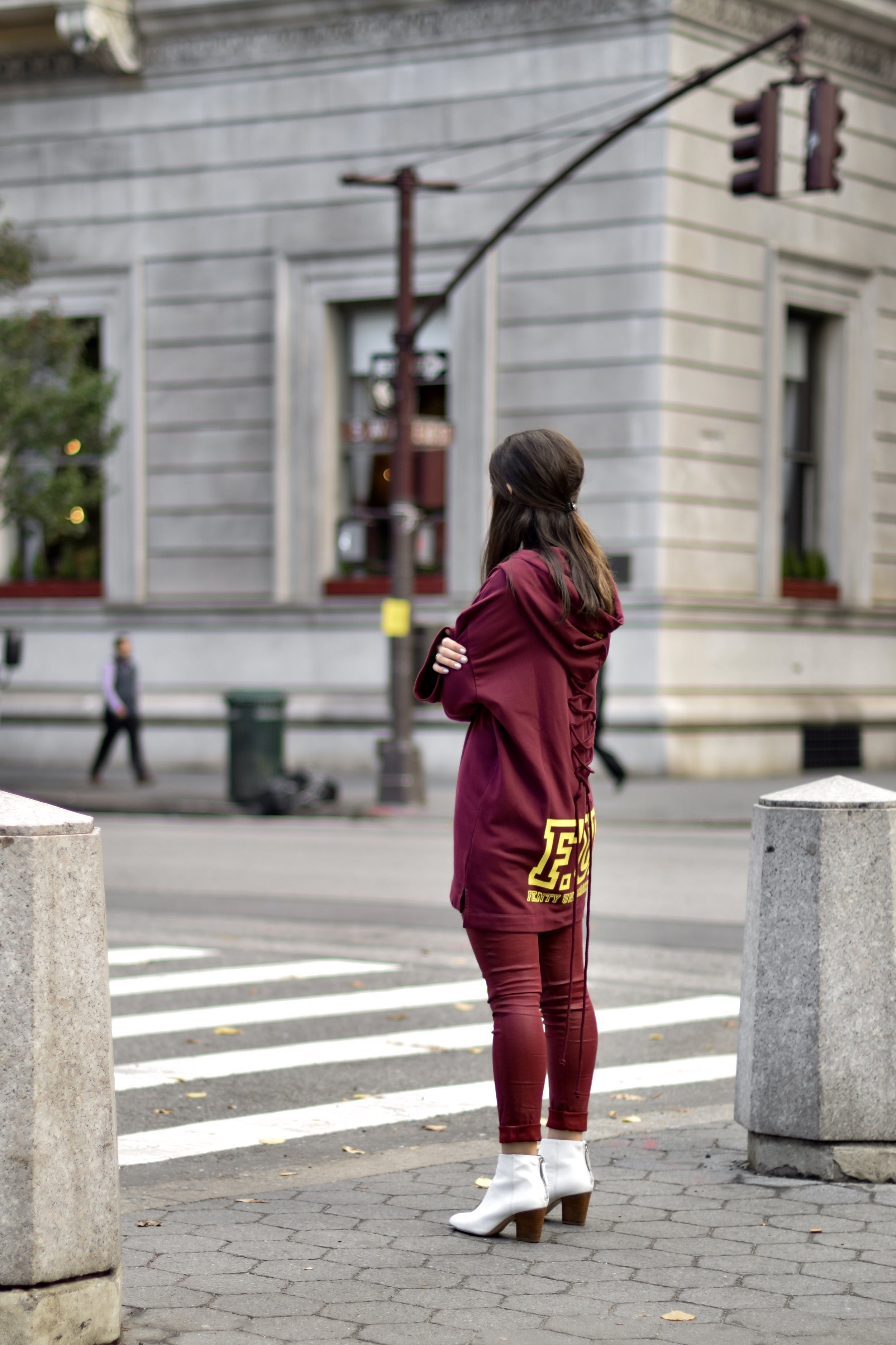 What Do Bloggers Still Pay For Monochrome Maroon Outfit White Booties Esther Santer Fashion Blog NYC Street Style Blogger Outfit OOTD Trendy Burgundy Color AG Jeans Fenty Puma Rihanna Oversized Sweatshirt Girl Women Shopping Winter Fall Look New York.jpg