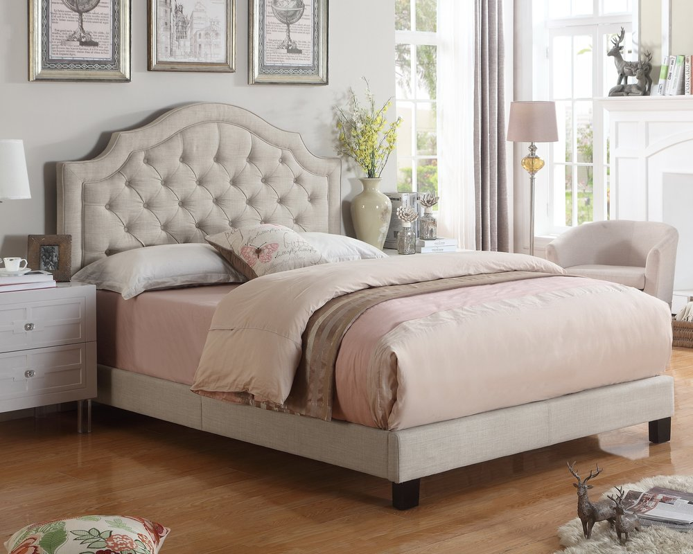 Swanley+Upholstered+Panel+Bed Wayfair Esther Santer NYC Street Style Blogger Home Decor Interior Design Inspiration Bed Headboard Grey Upholstered Beautiful Affordable Shopping Sheets Pretty Studs Neutral Sale Dream Inspo Trendy Color House.jpg