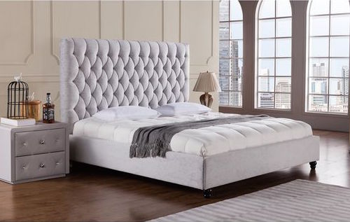 Light Grey Fabric Bed American Eagle Wayfair Esther Santer NYC Street Style Blogger Home Decor Interior Design Inspiration Bed Headboard Grey Upholstered Beautiful Affordable Shopping Bedroom Pretty Studs Neutral Sale Dream Inspo Trendy Color.jpg