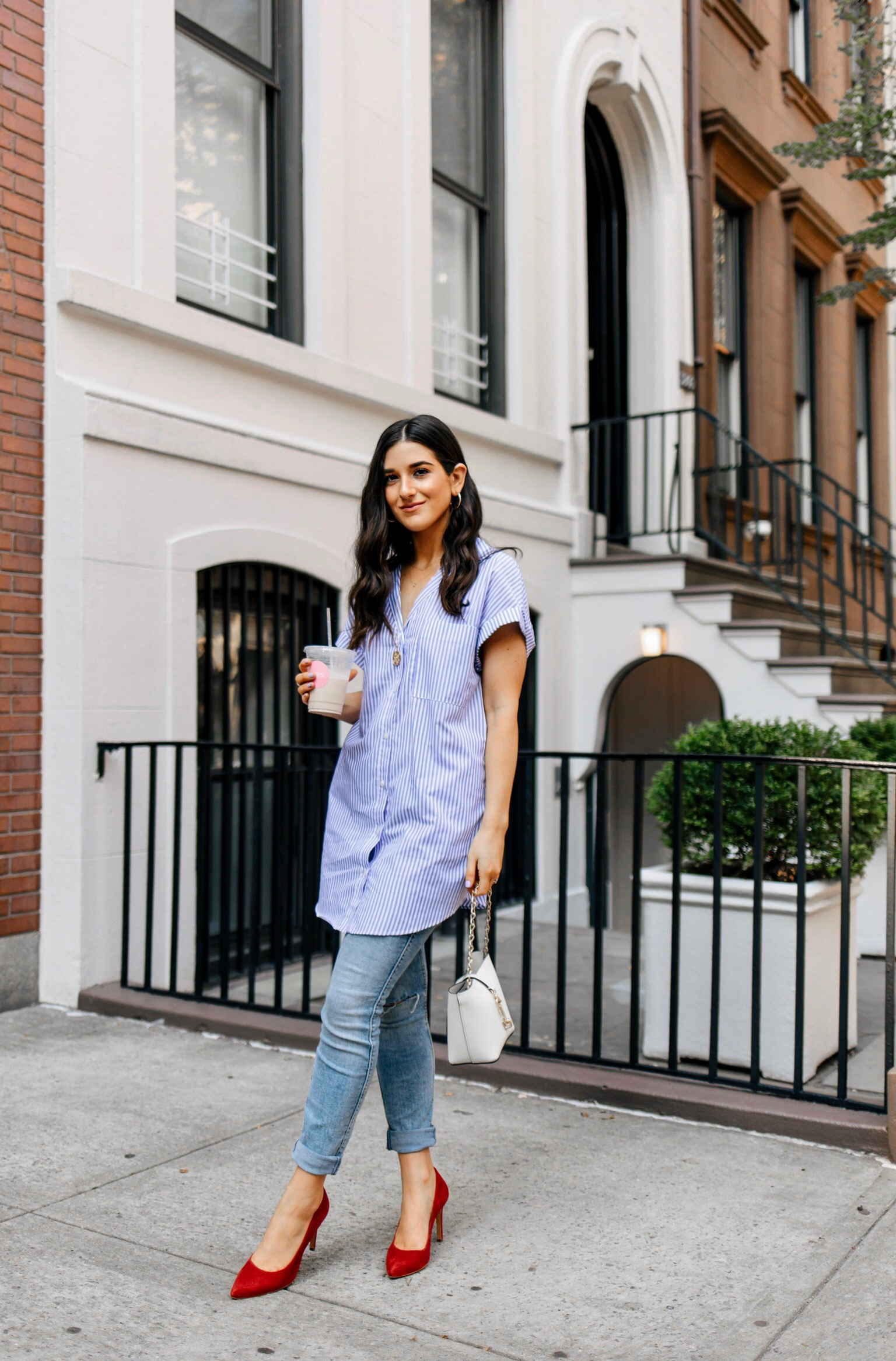 No Is A Dirty Dirty Word A Satire Blue Striped Top Red Heels Esther Santer Fashion Blog NYC Street Style Blogger Outfit OOTD Trendy By Woops Macaron Shop Light  Denim Jeans Gold Jewelry Details Shoes Zara Shopping Wear Zac Posen Bag Coffee Break Girl.jpg