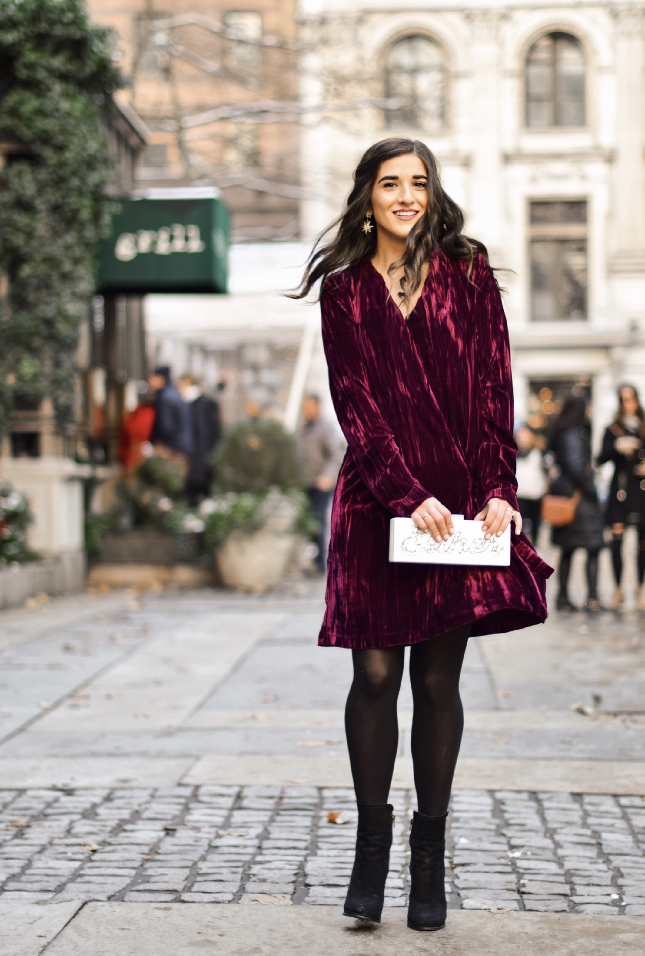 17 Tips On Building An Instagram Following Maroon Velvet Dress Black Booties Esther Santer Fashion Blog NYC Street Style Blogger Outfit OOTD Trendy Zara Online Shopping Winter Monogram Box Bag Clutch M4D3 Shoes Wavy Hair Hue Tights Wear Classic Simple.jpg