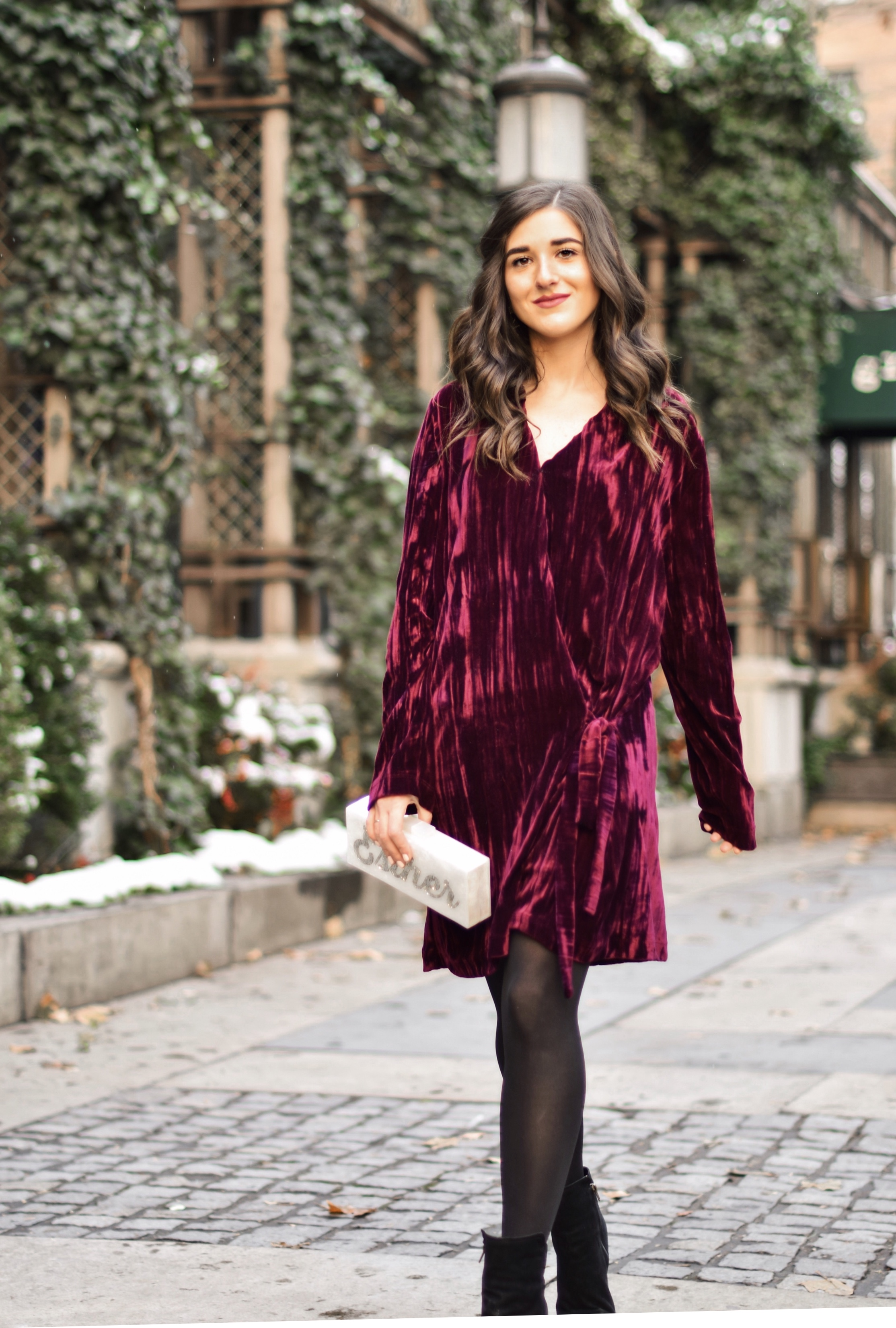 17 Tips On Building An Instagram Following Maroon Velvet Dress Black Booties Esther Santer Fashion Blog NYC Street Style Blogger Outfit OOTD Trendy Zara Online Shopping Winter Monogram Box Bag Clutch Shoes M4D3 Hue Tights Wear Wavy Hair Simple Classic.jpg