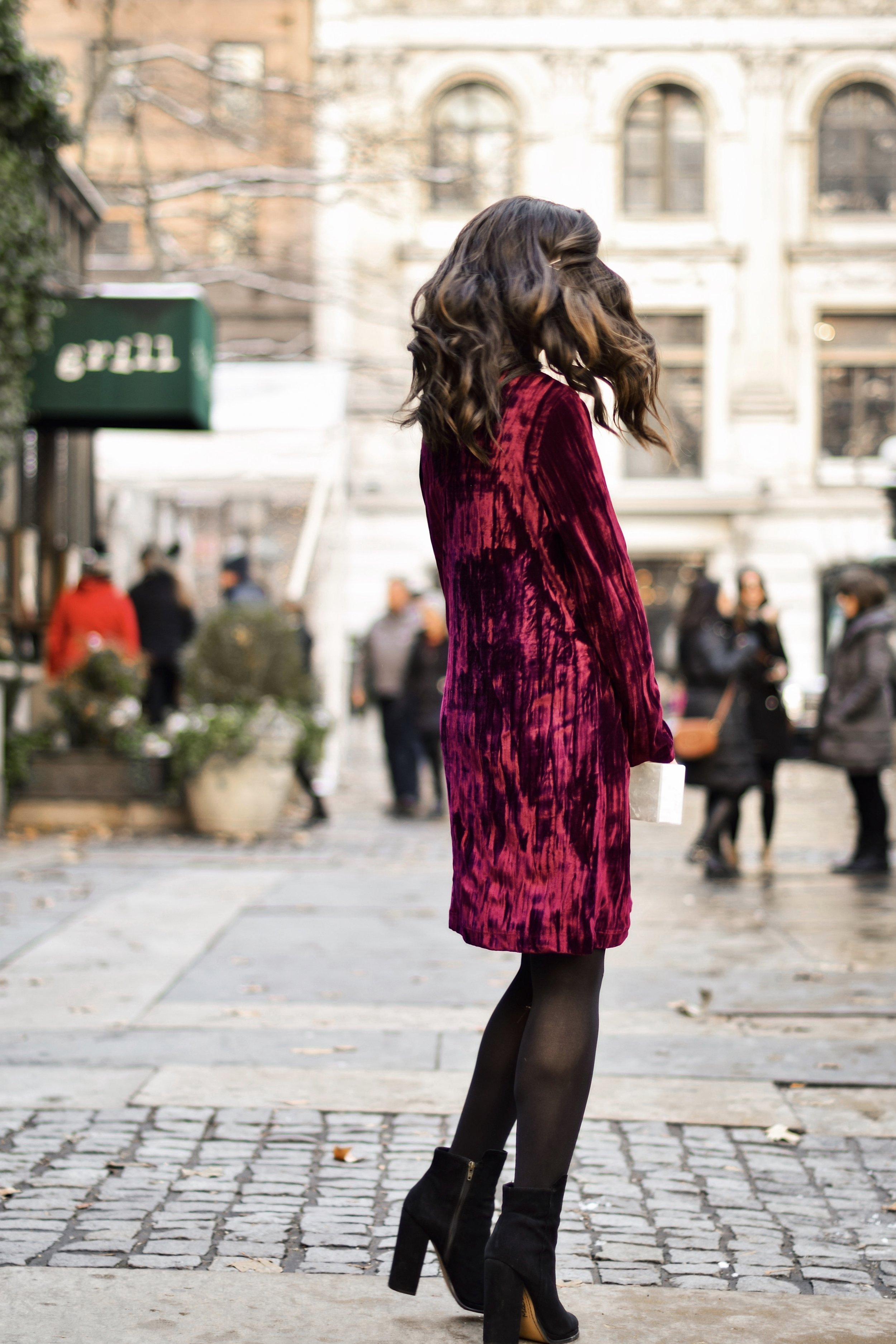 17 Tips On Building An Instagram Following Maroon Velvet Dress Black Booties Esther Santer Fashion Blog NYC Street Style Blogger Outfit OOTD Trendy Zara Online Shopping Winter Monogram Box Bag Clutch M4D3 Shoes Wavy Hair Hue Tights Wear Simple Classic.jpg